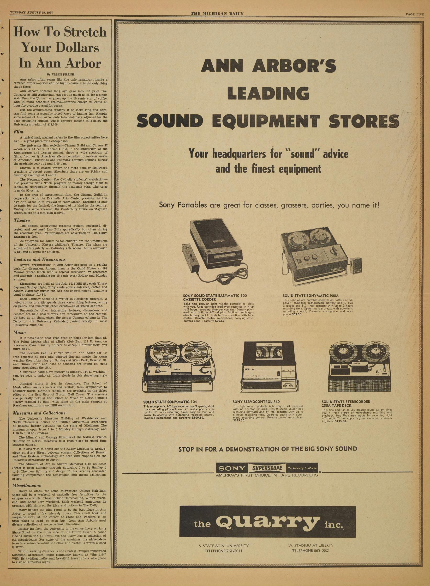 Michigan Daily Digital Archives August 29 1967 Vol 78 Iss 1 Telephone Record Control Download This Page