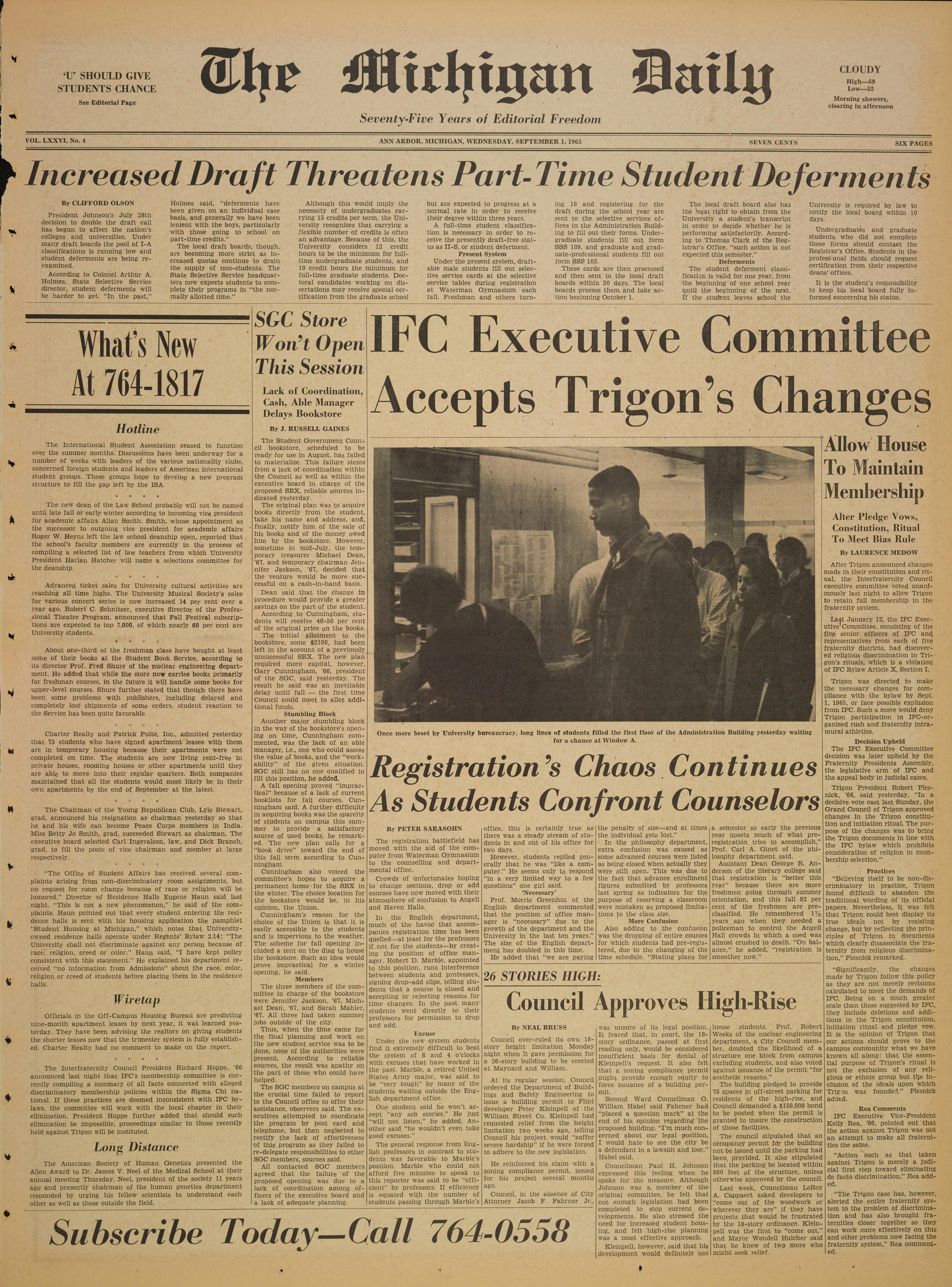 Michigan Daily Digital Archives - September 01, 1965 (vol