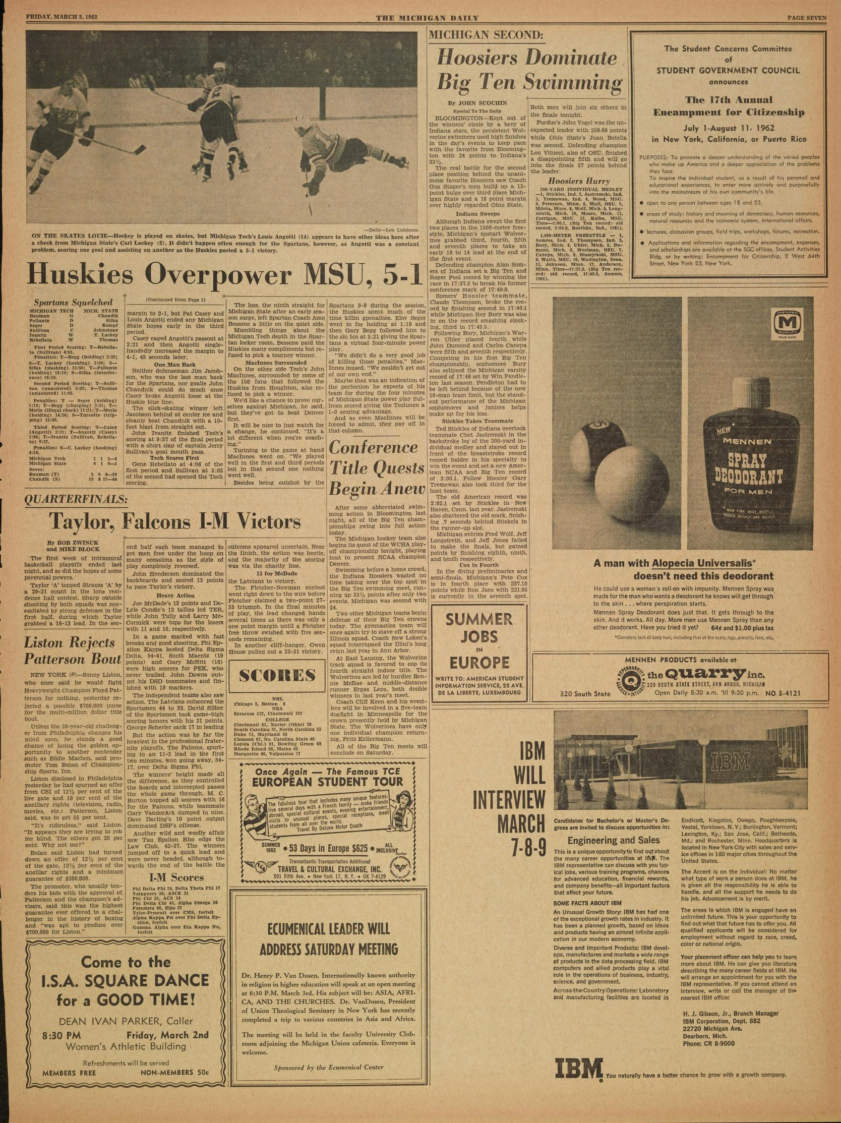 Michigan Daily Digital Archives - March 02, 1962 (vol  72, iss  106