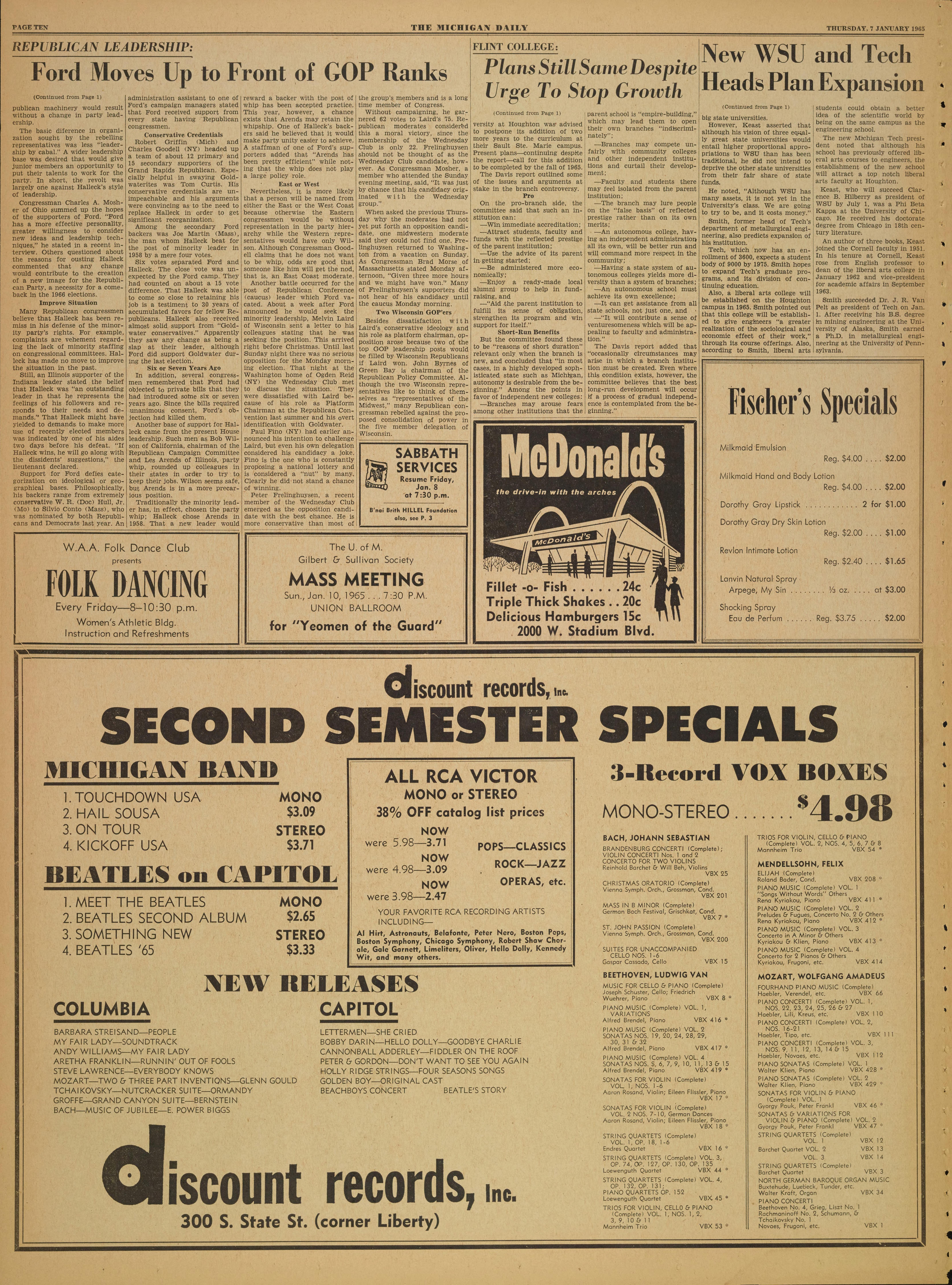 Michigan Daily Digital Archives - January 07, 1965 (vol  75