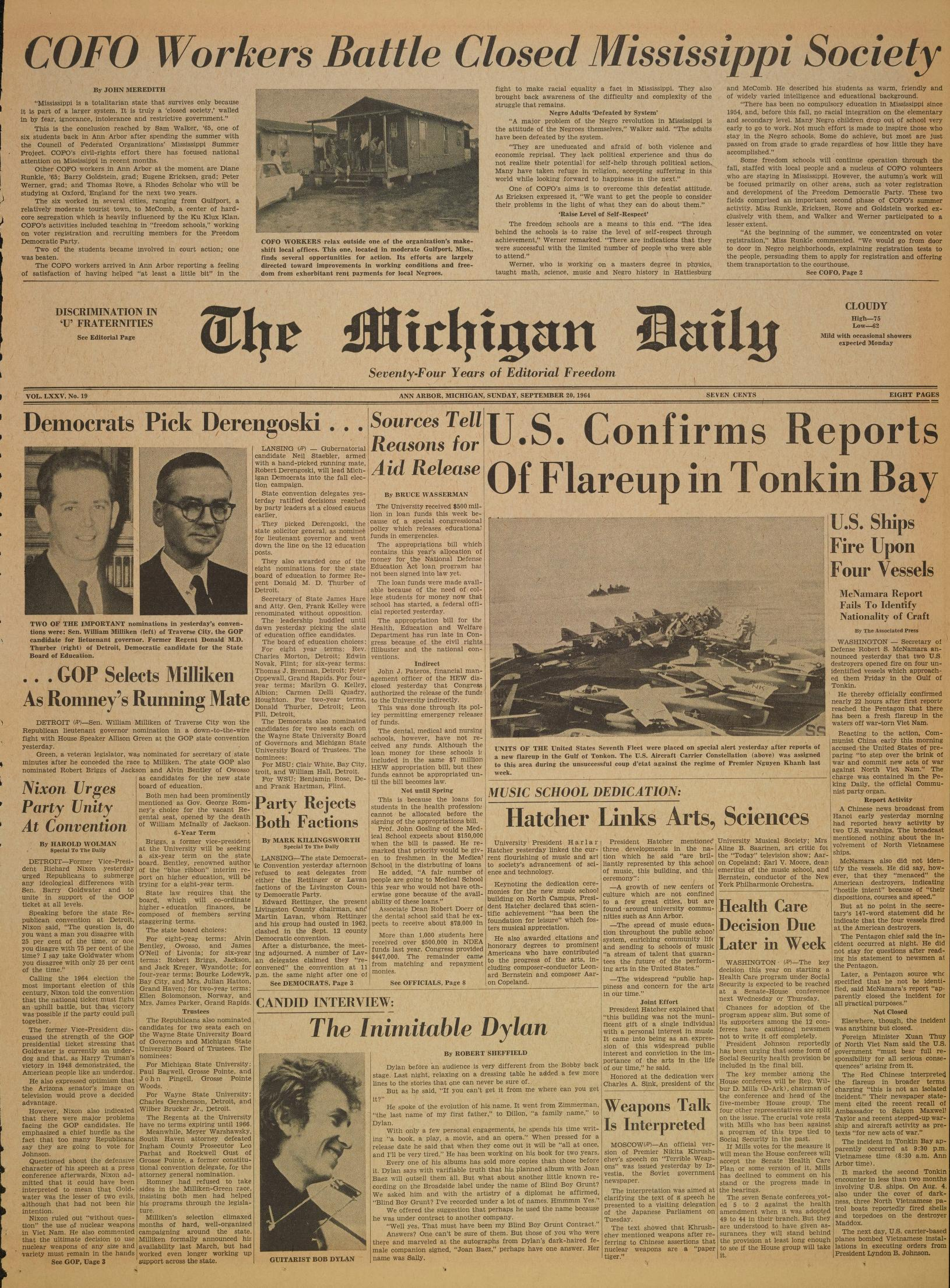 Michigan Daily Digital Archives - September 20, 1964 (vol  75, iss