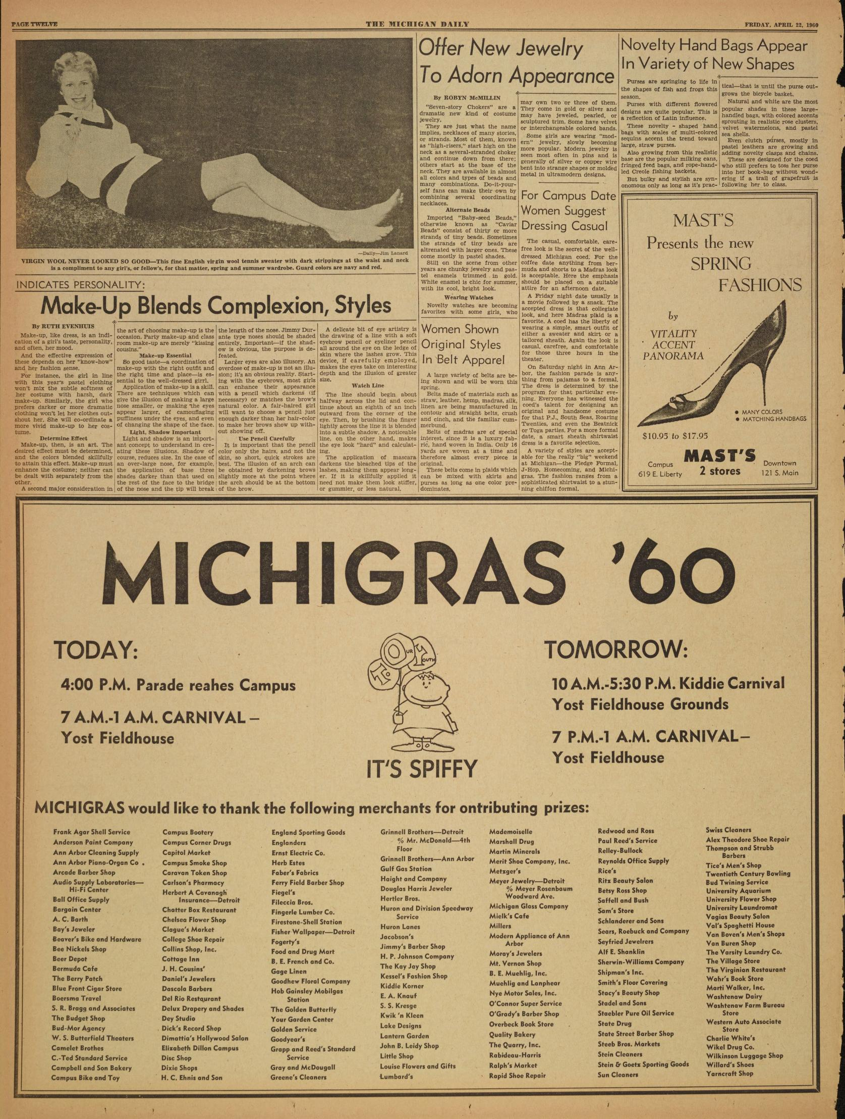 Michigan Daily Digital Archives - April 22, 1960 (vol  70