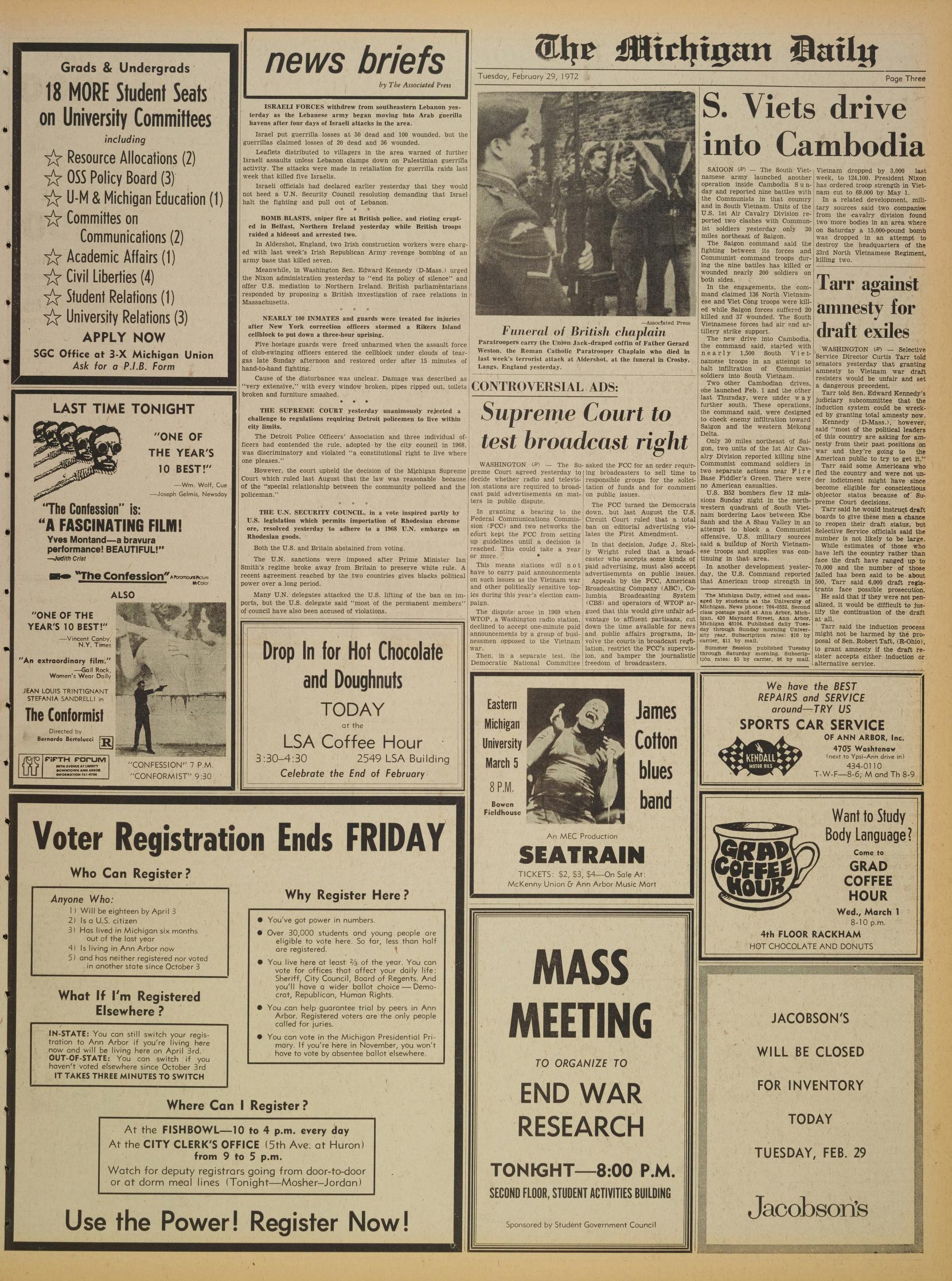 Michigan Daily Digital Archives - February 29, 1972 (vol  82