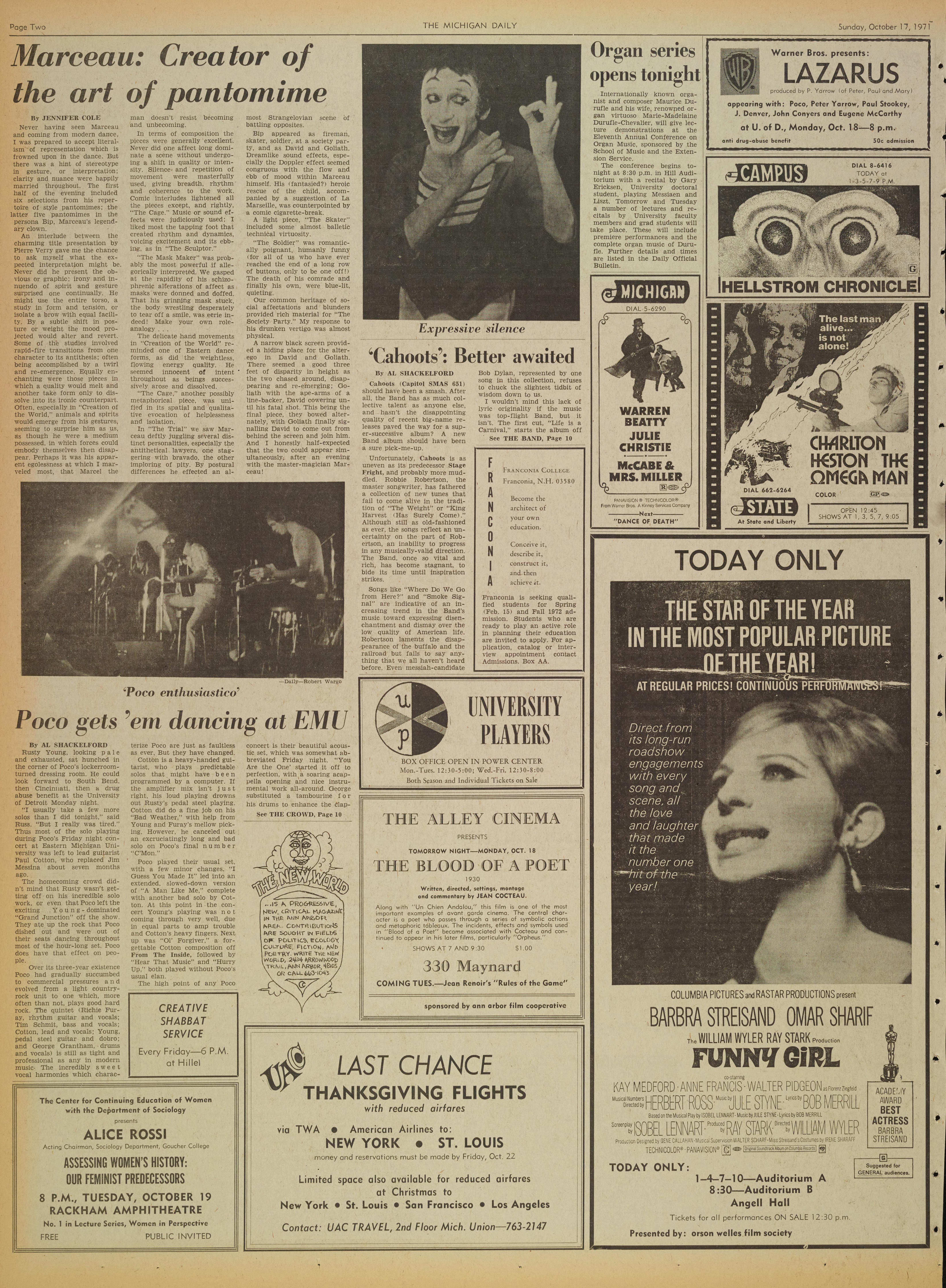 Michigan Daily Digital Archives - October 17, 1971 (vol  82