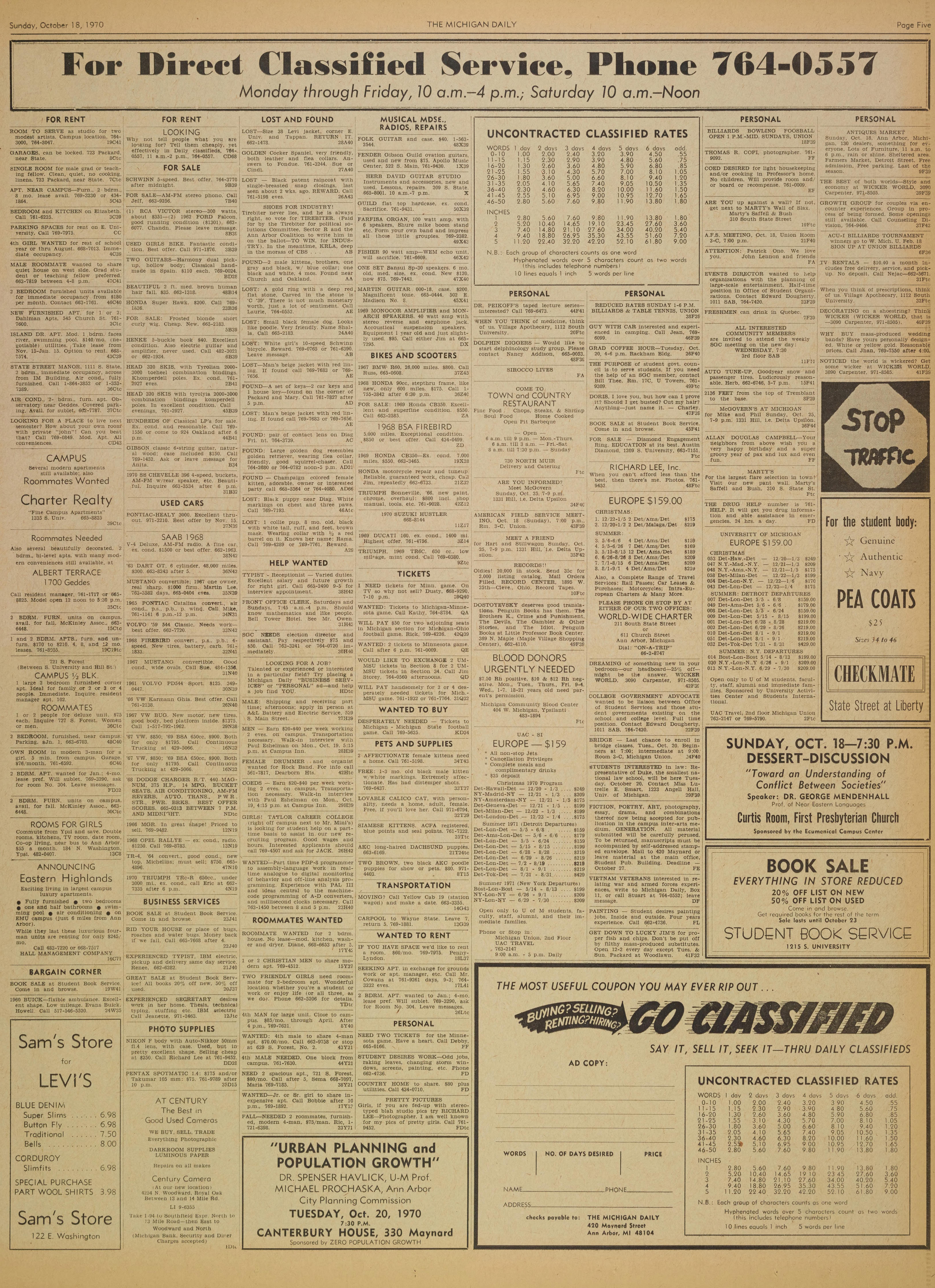 Michigan Daily Digital Archives October 18 1970 Vol 81
