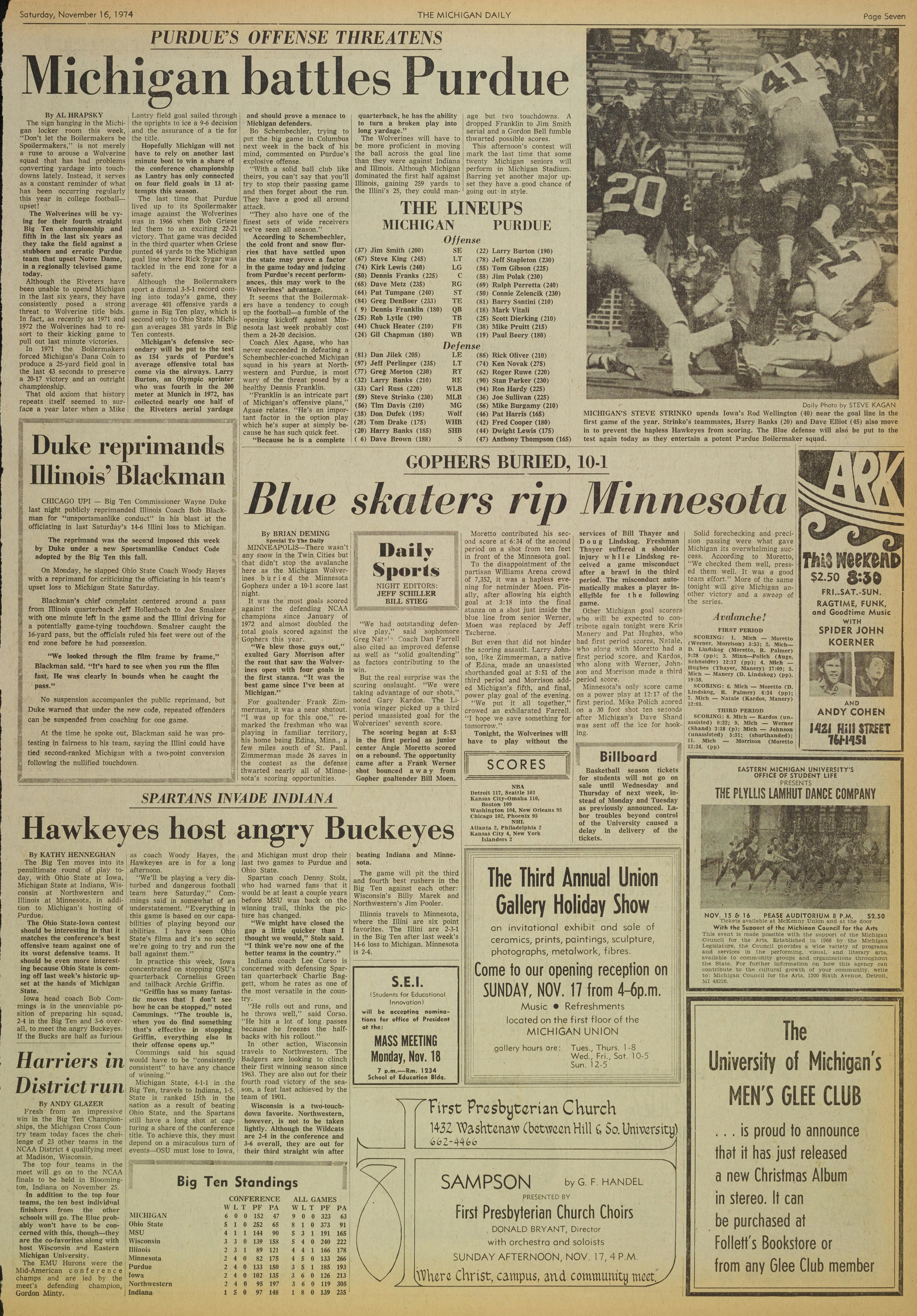 Michigan Daily Digital Archives November 16 1974 Vol 85