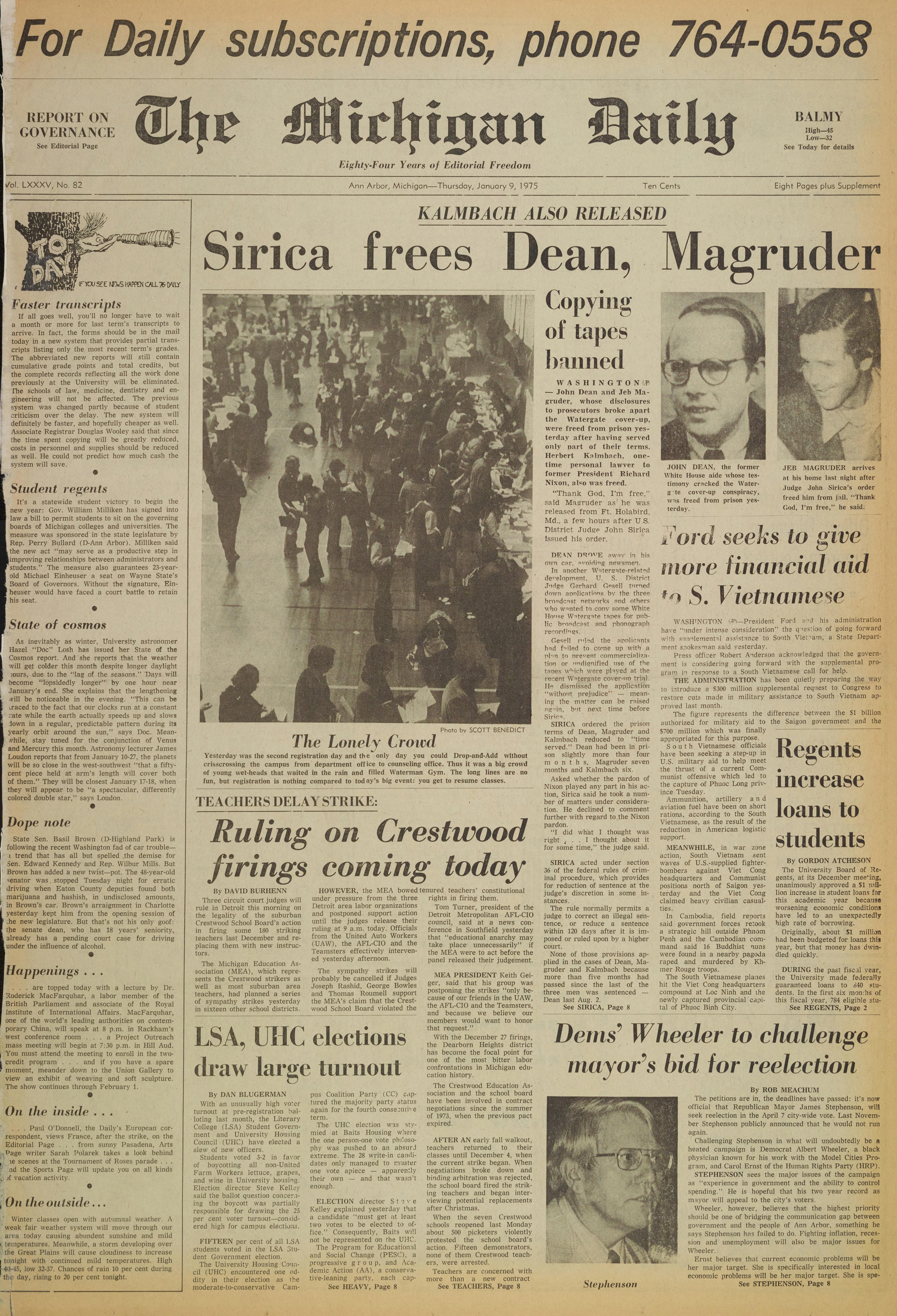 Michigan Daily Digital Archives - January 09, 1975 (vol  85