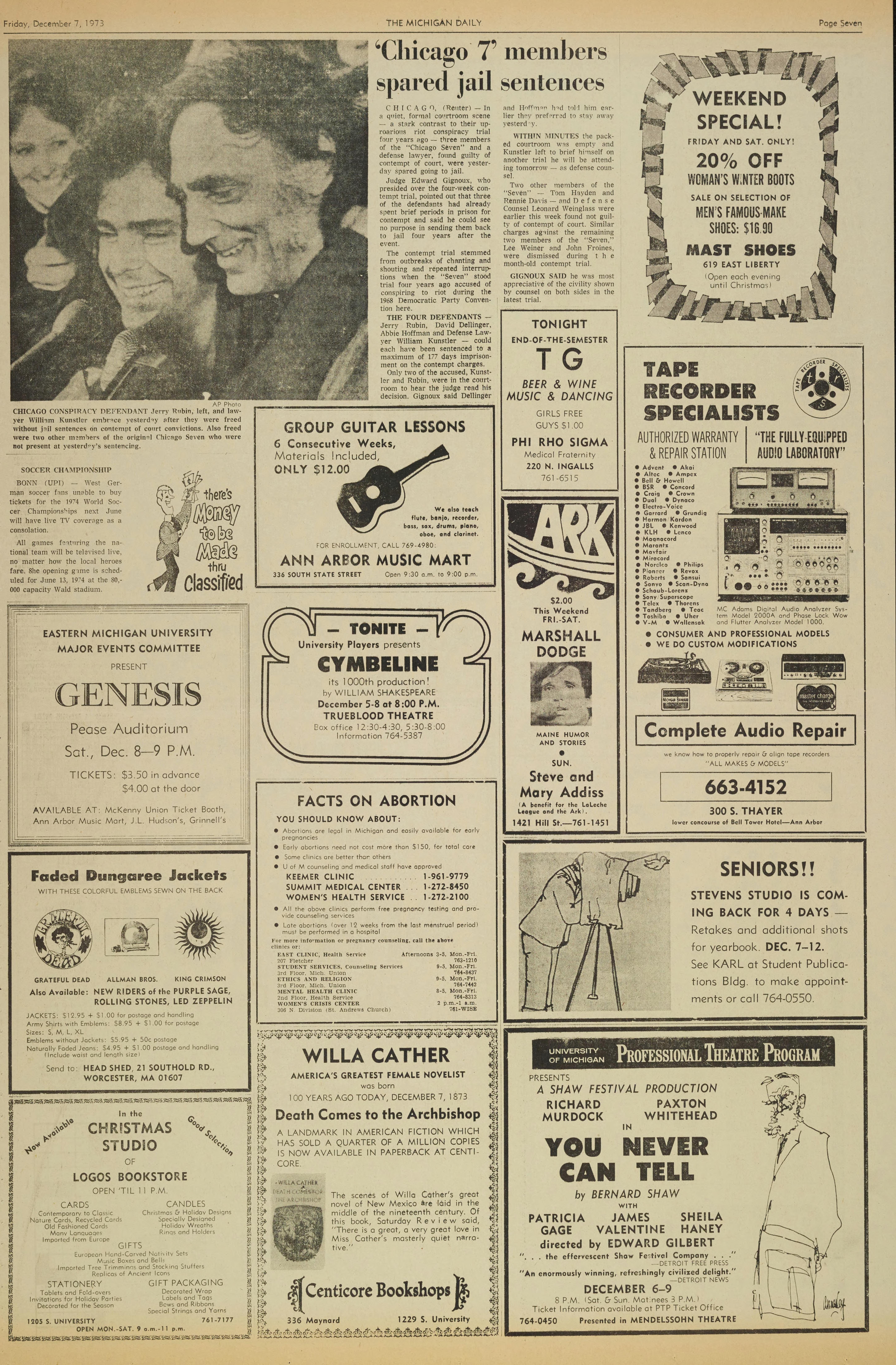 Michigan Daily Digital Archives - December 07, 1973 (vol  84