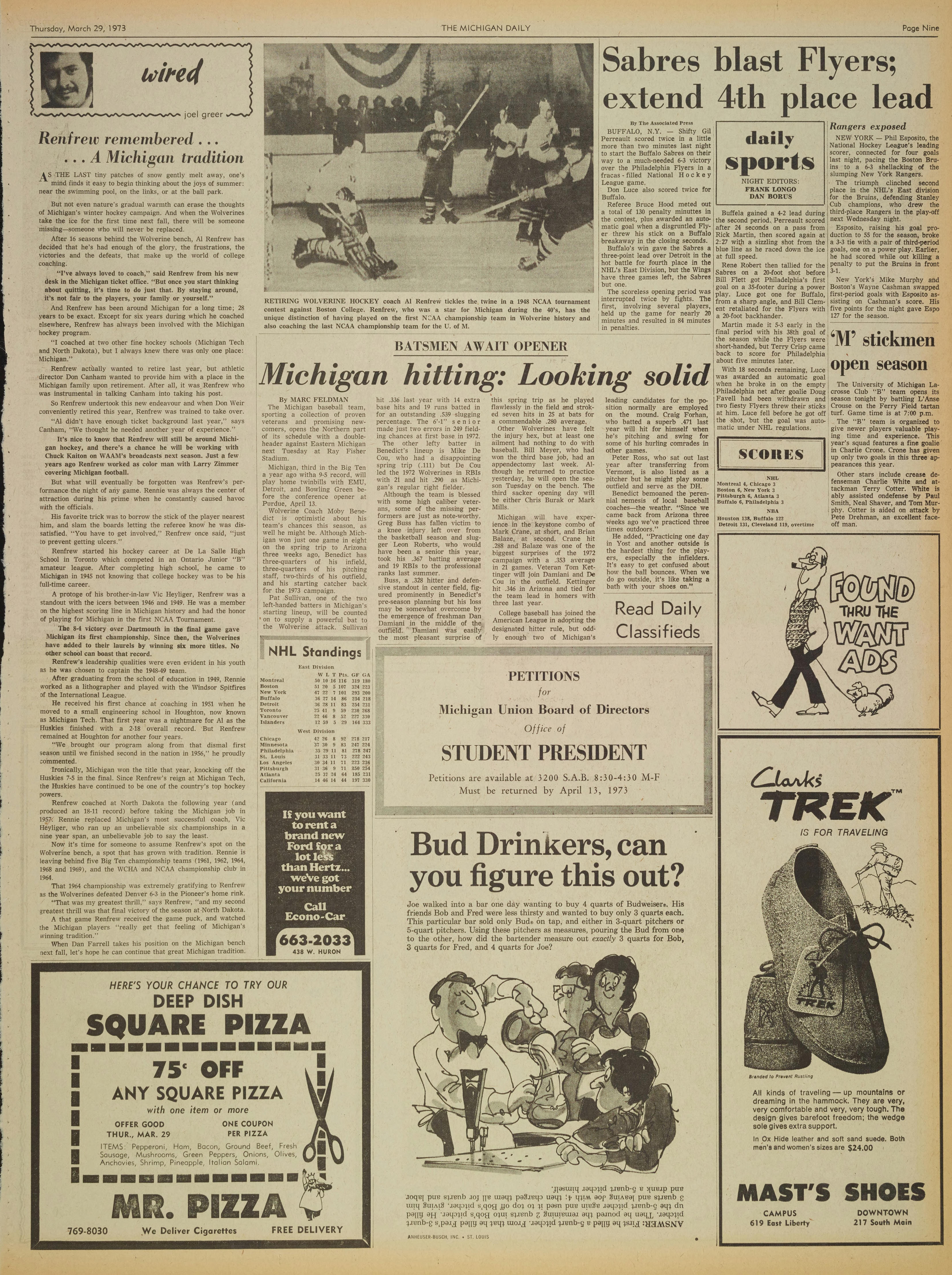 Michigan Daily Digital Archives - March 29, 1973 (vol  83