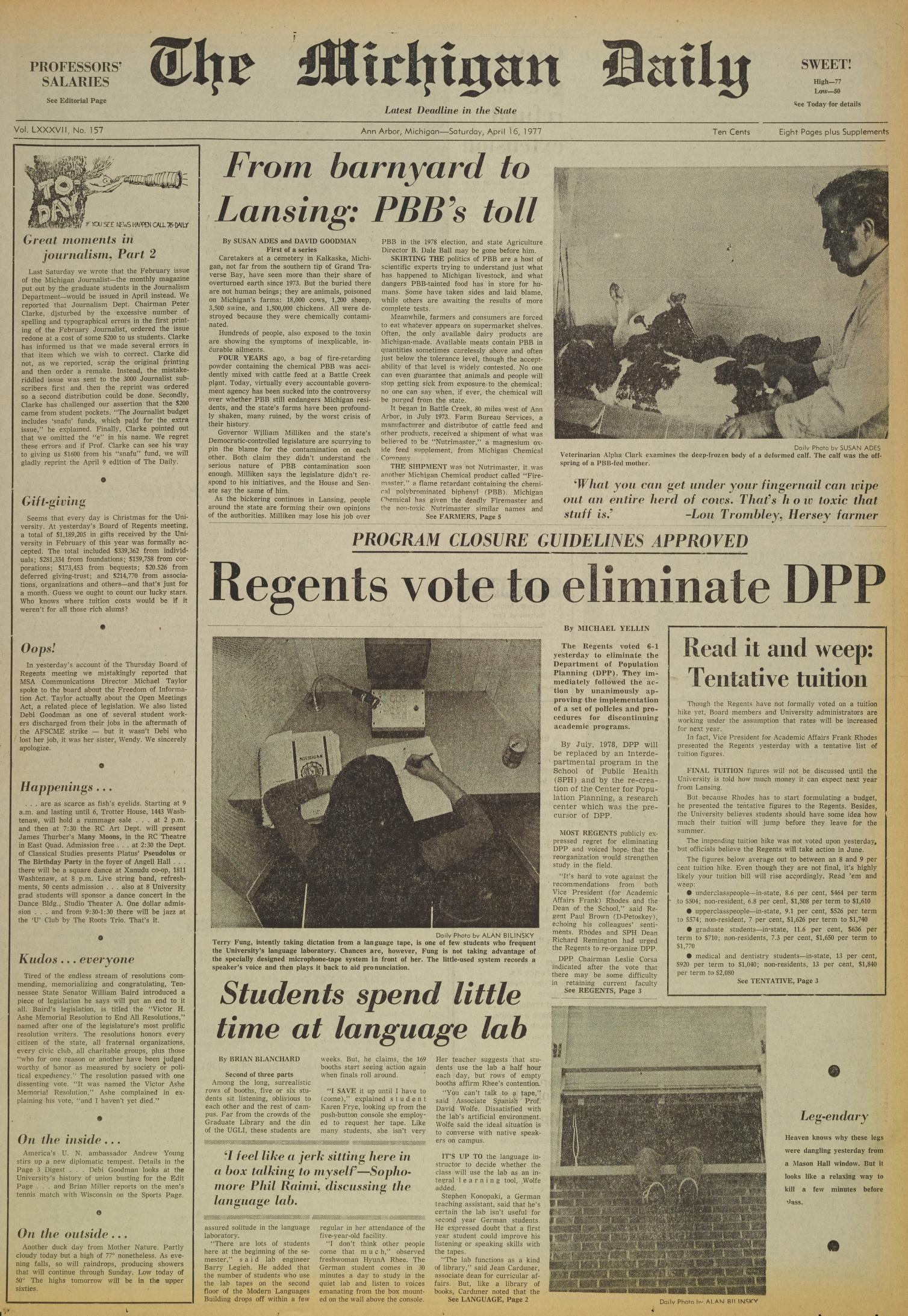 Michigan Daily Digital Archives - April 16, 1977 (vol  87