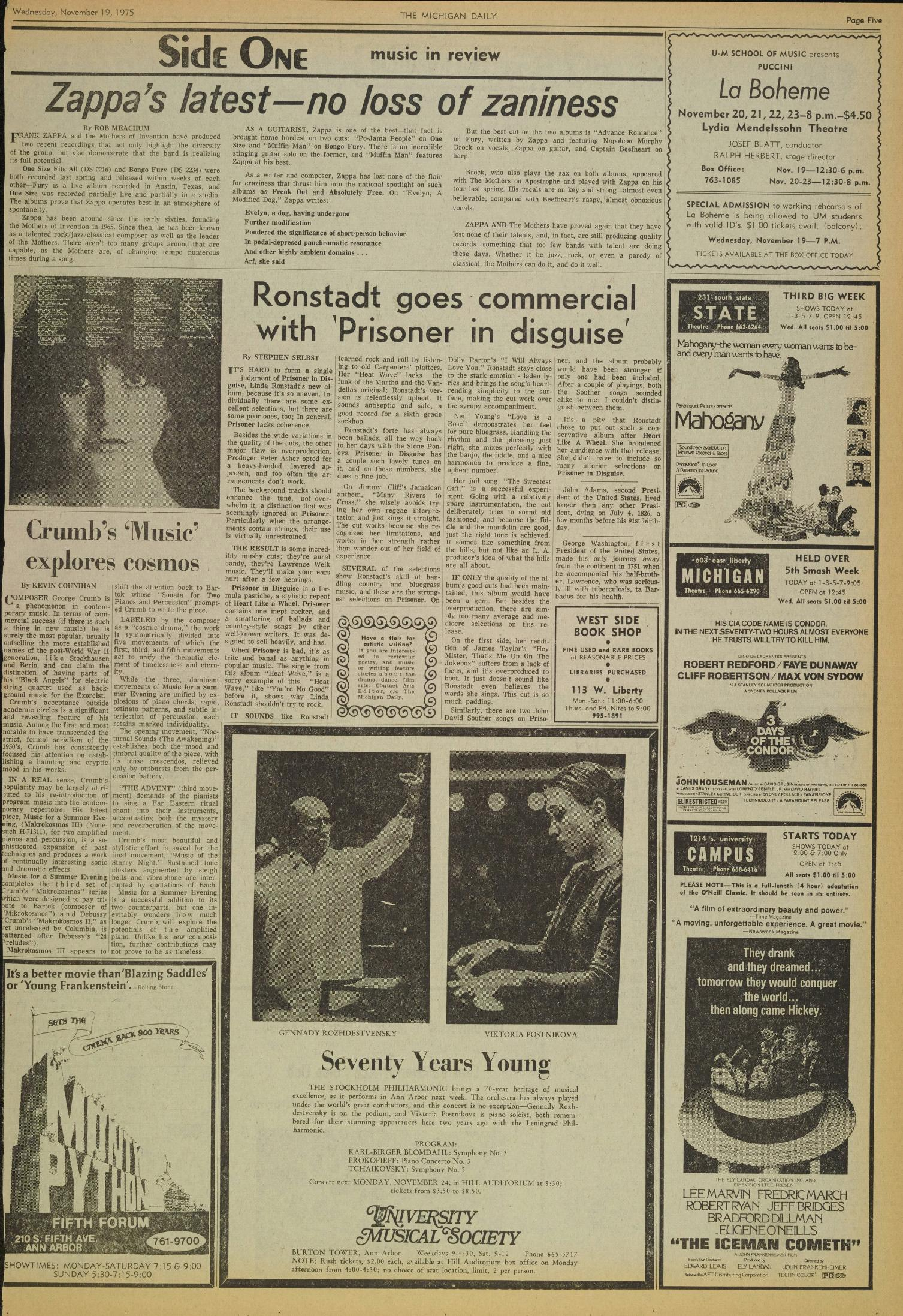 Michigan Daily Digital Archives - November 19, 1975 (vol  86