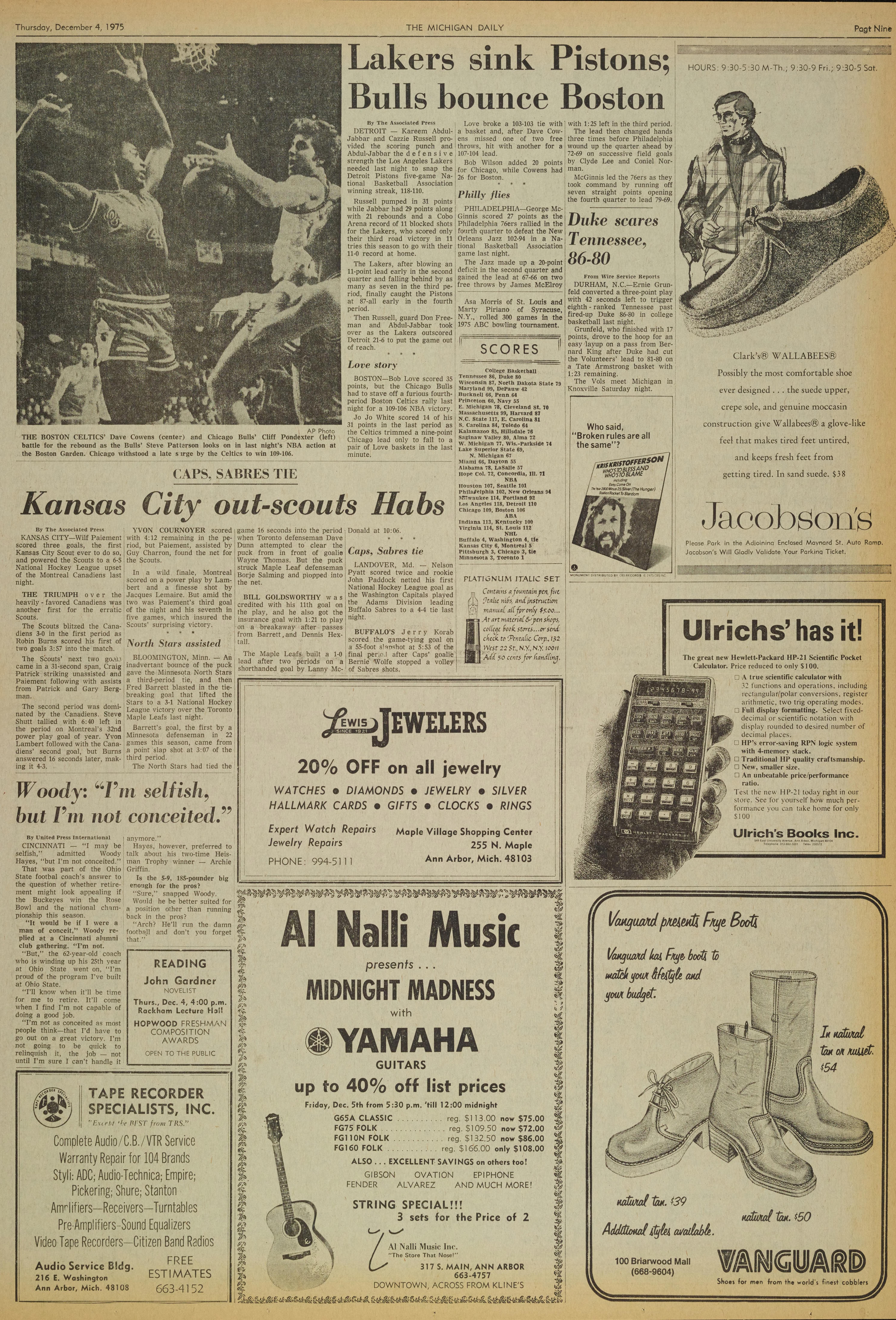 Michigan Daily Digital Archives December 04 1975 Vol 86