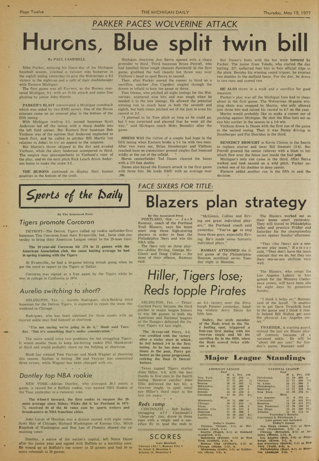Michigan Daily Digital Archives - May 19, 1977 (vol  87, iss  12