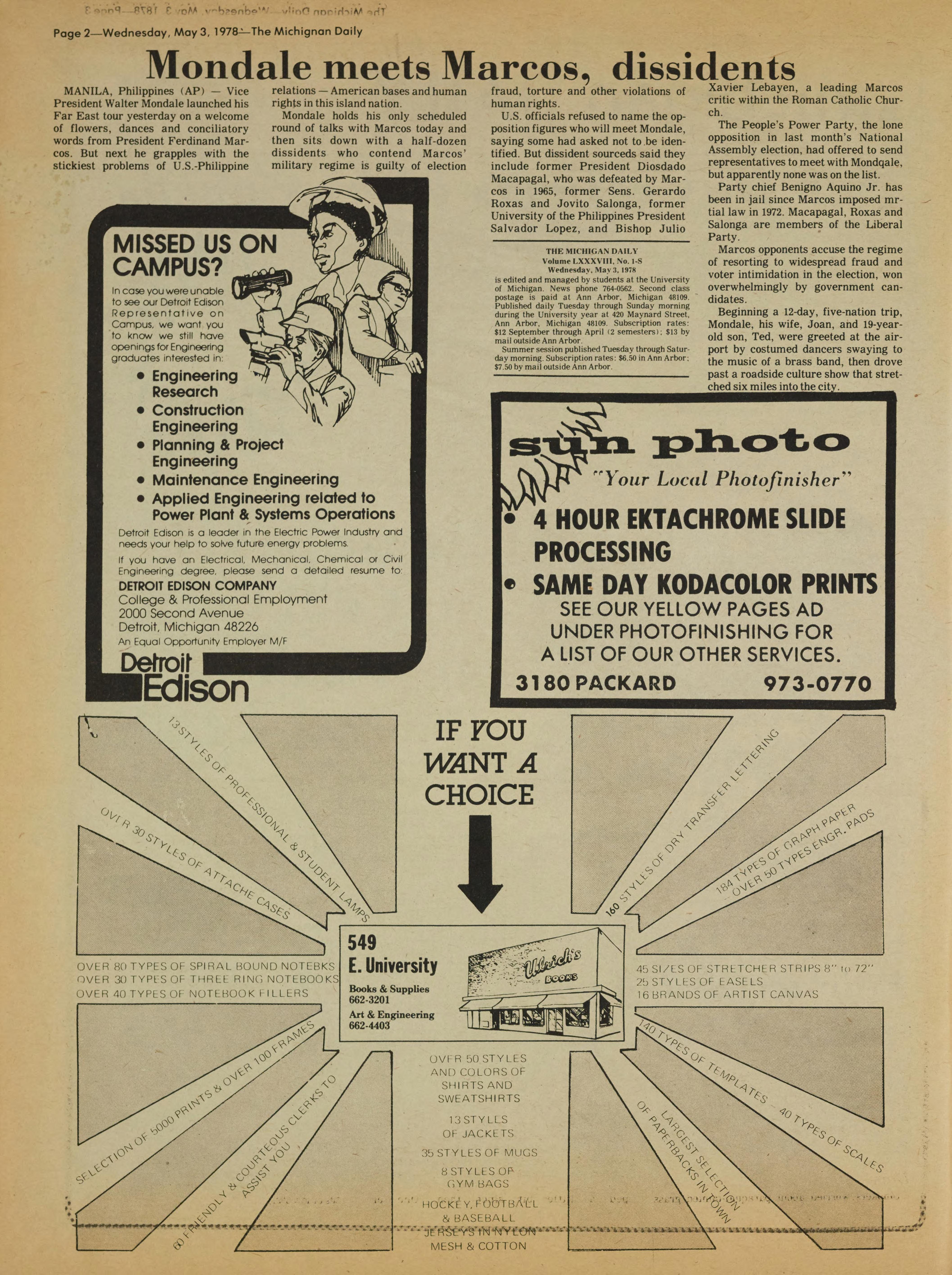 Michigan Daily Digital Archives - May 03, 1978 (vol  88, iss  1