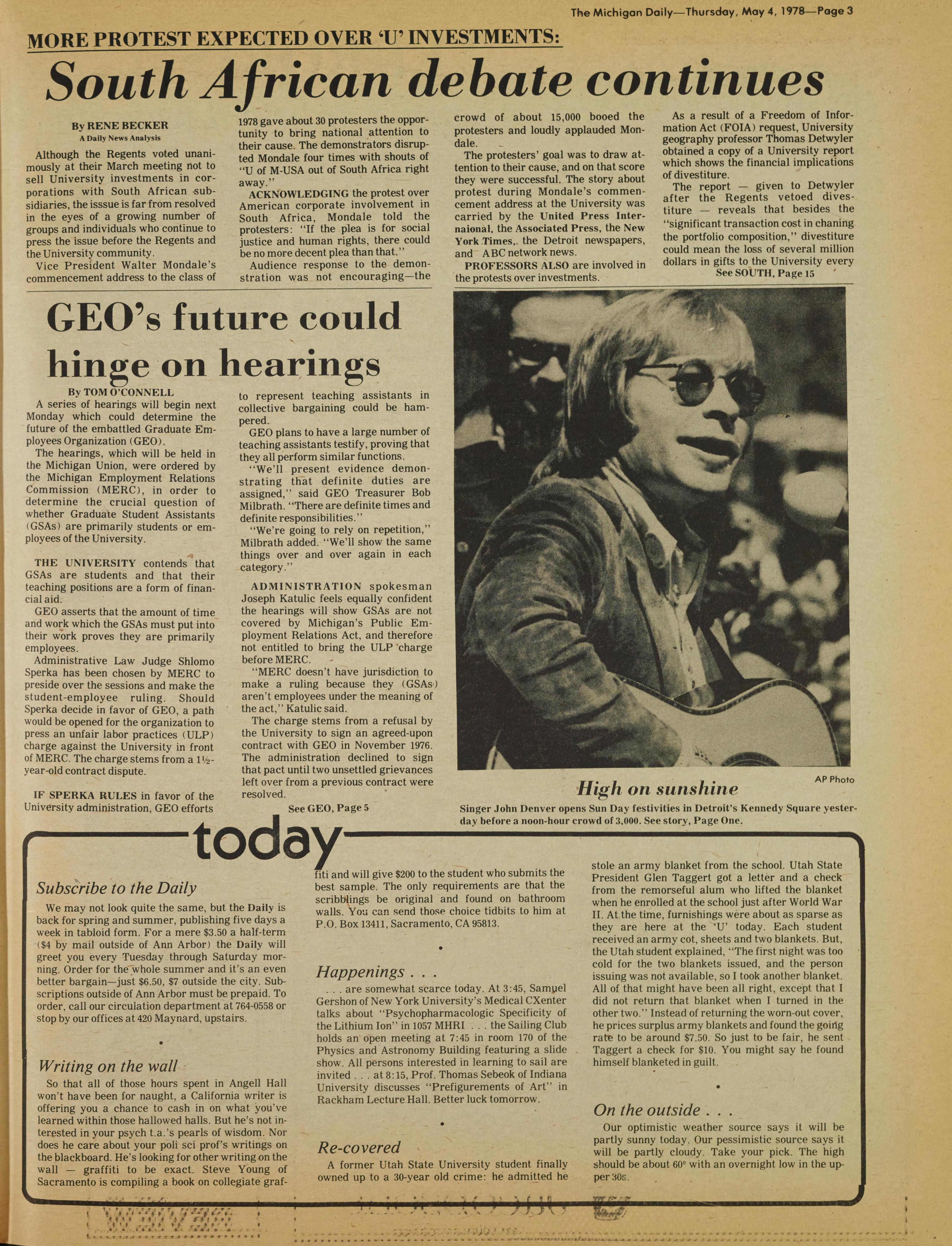Michigan Daily Digital Archives May 04 1978 Vol 88 Iss 2 Just Sampel Download This Page