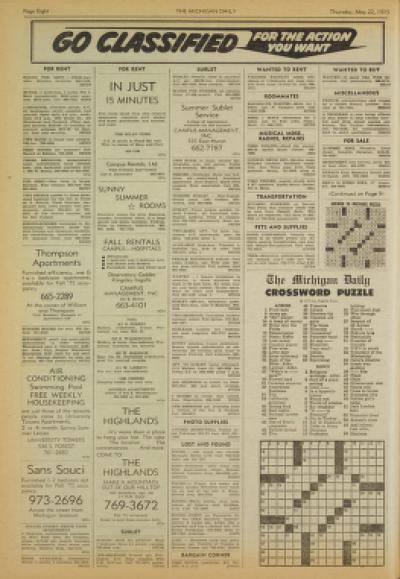 Michigan Daily Digital Archives - May 22, 1975 (vol  85, iss