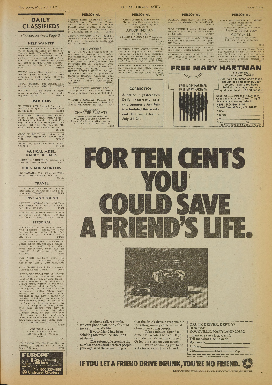 Michigan Daily Digital Archives - May 20, 1976 (vol  86, iss