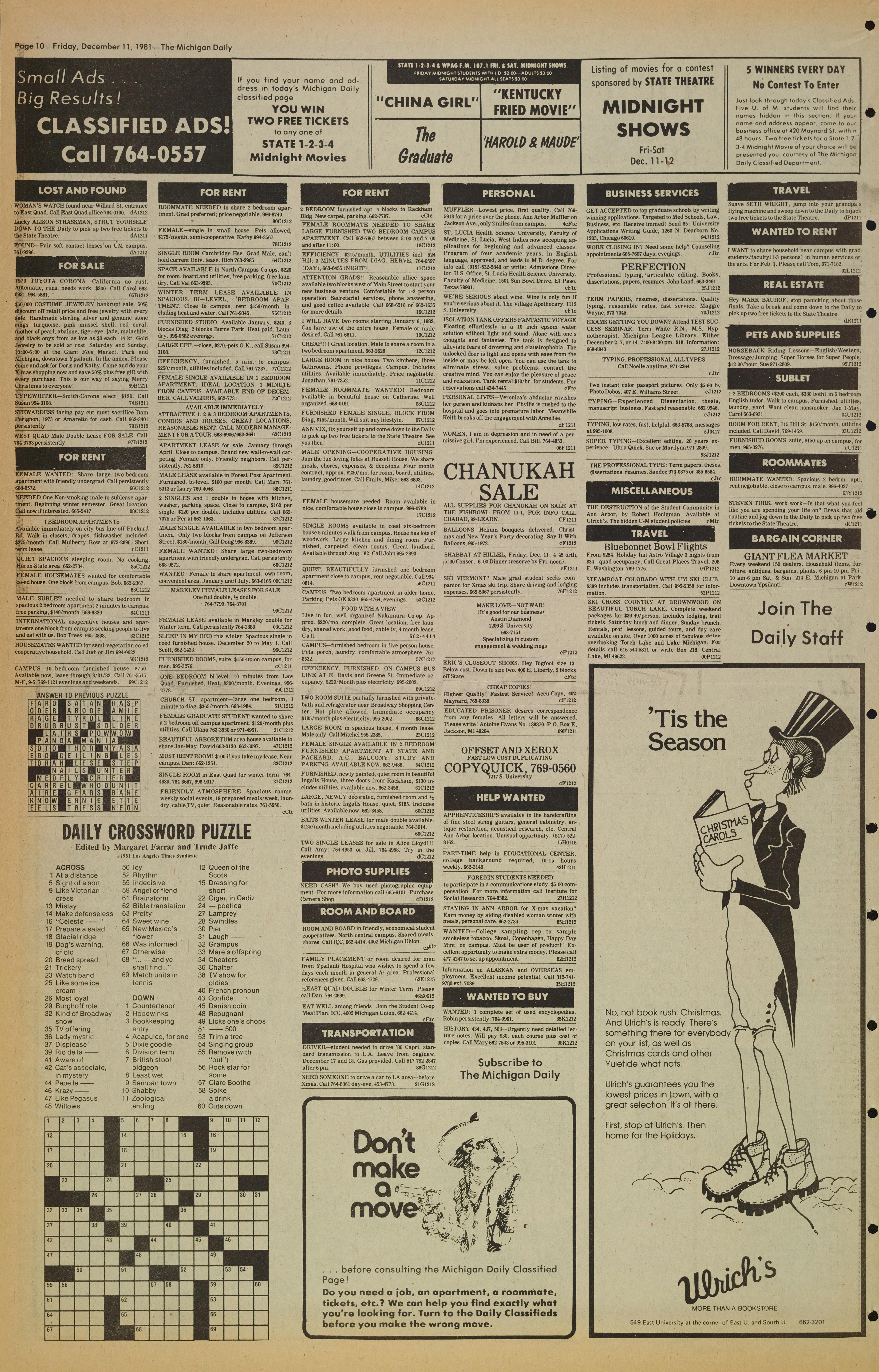 Michigan Daily Digital Archives - December 11, 1981 (vol  92