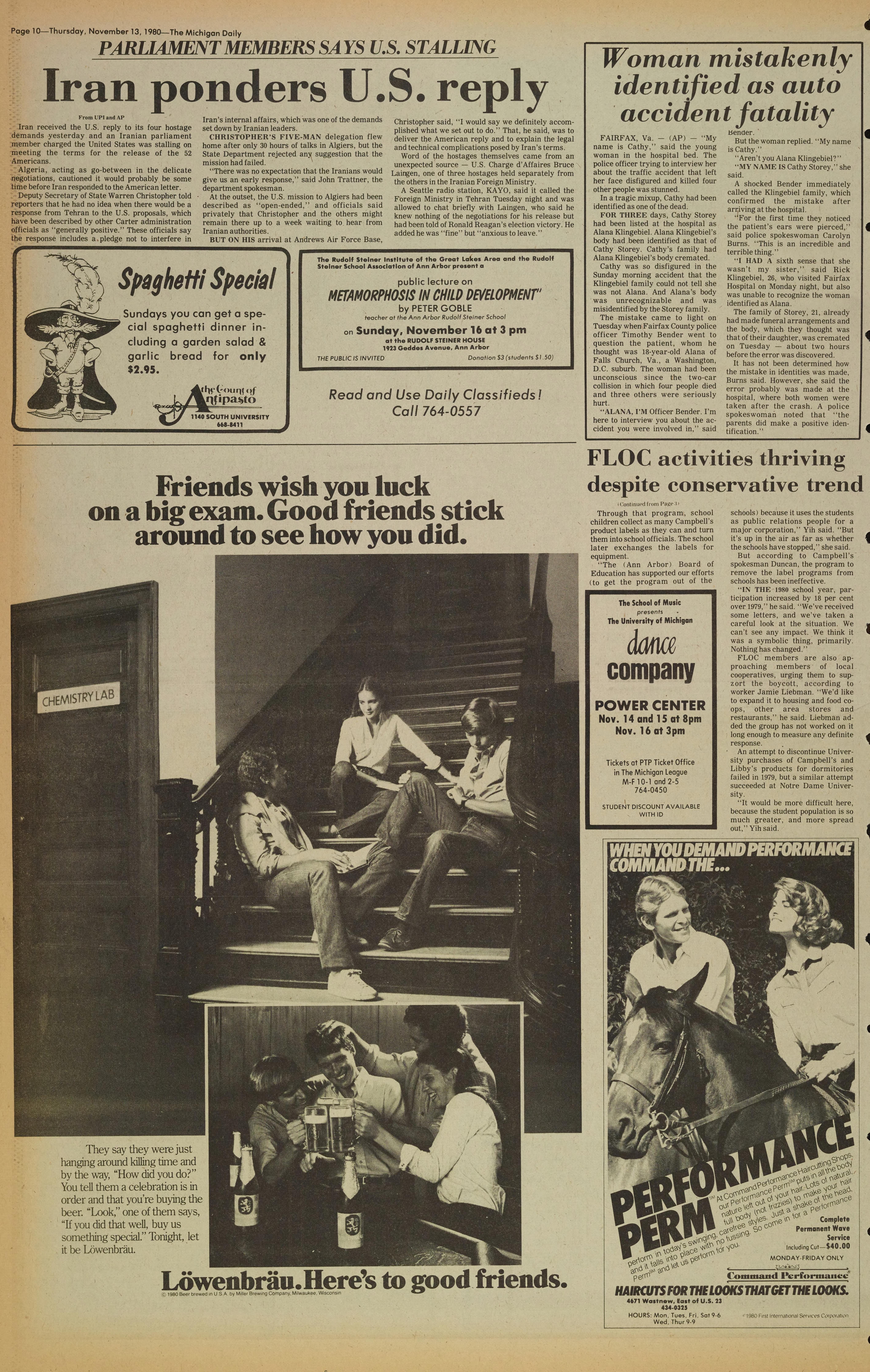 Michigan Daily Digital Archives - November 13, 1980 (vol  91, iss