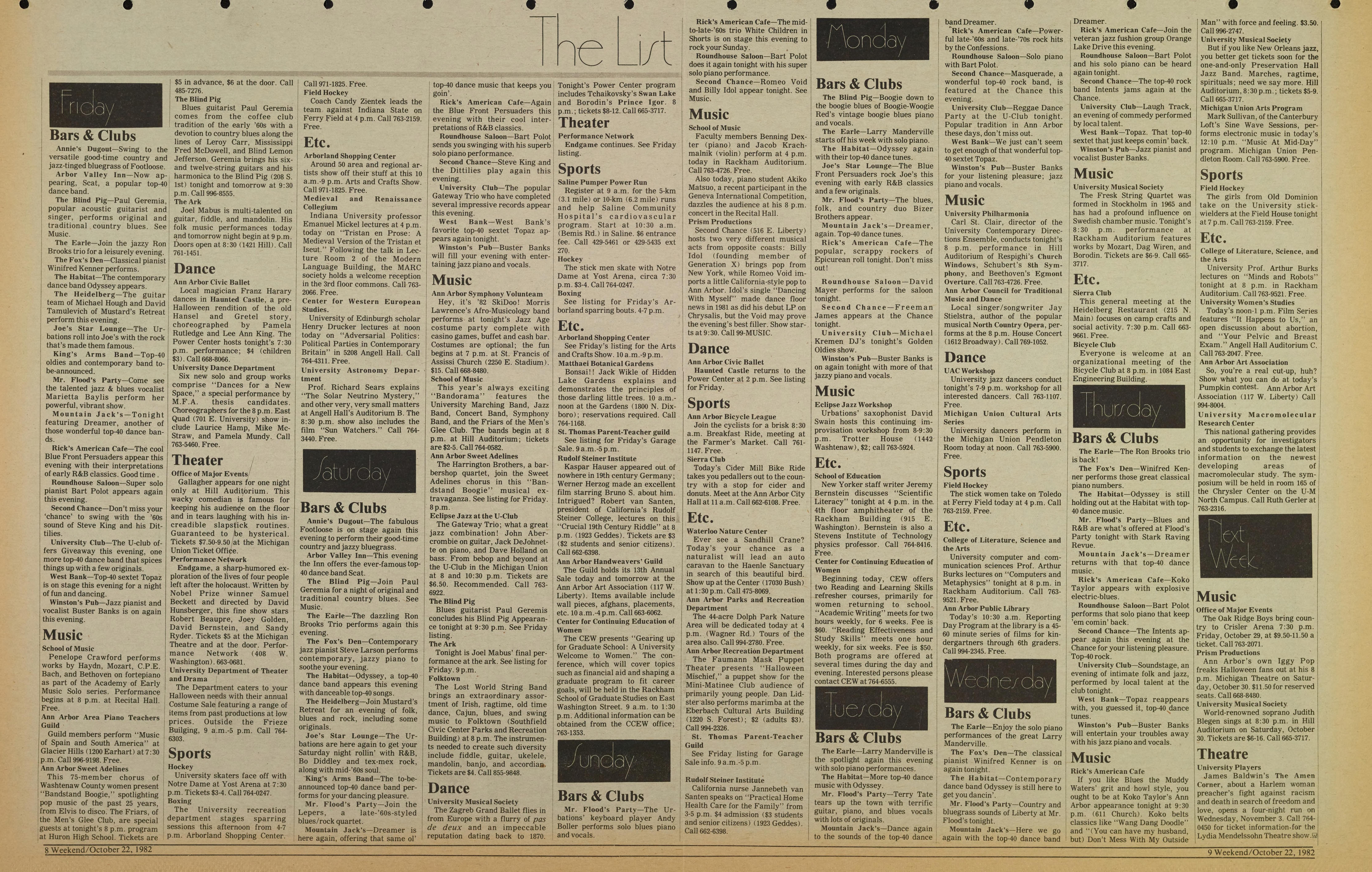 Michigan Daily Digital Archives - October 22, 1982 (vol  93