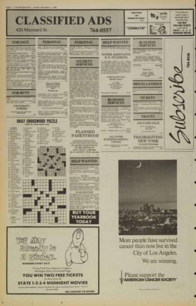 Michigan Daily Digital Archives - November 11, 1984 (vol  95