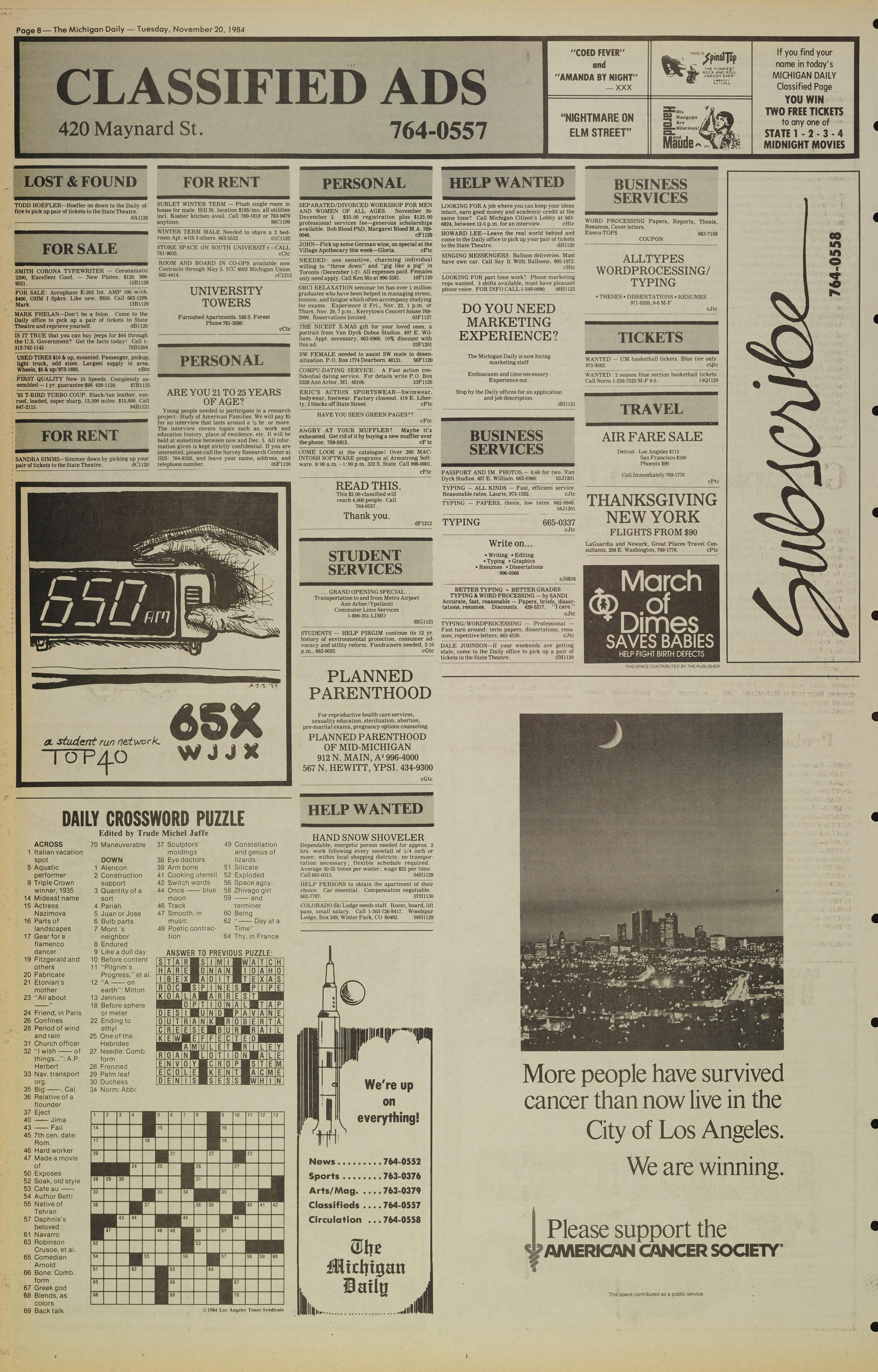 Michigan Daily Digital Archives - November 20, 1984 (vol  95