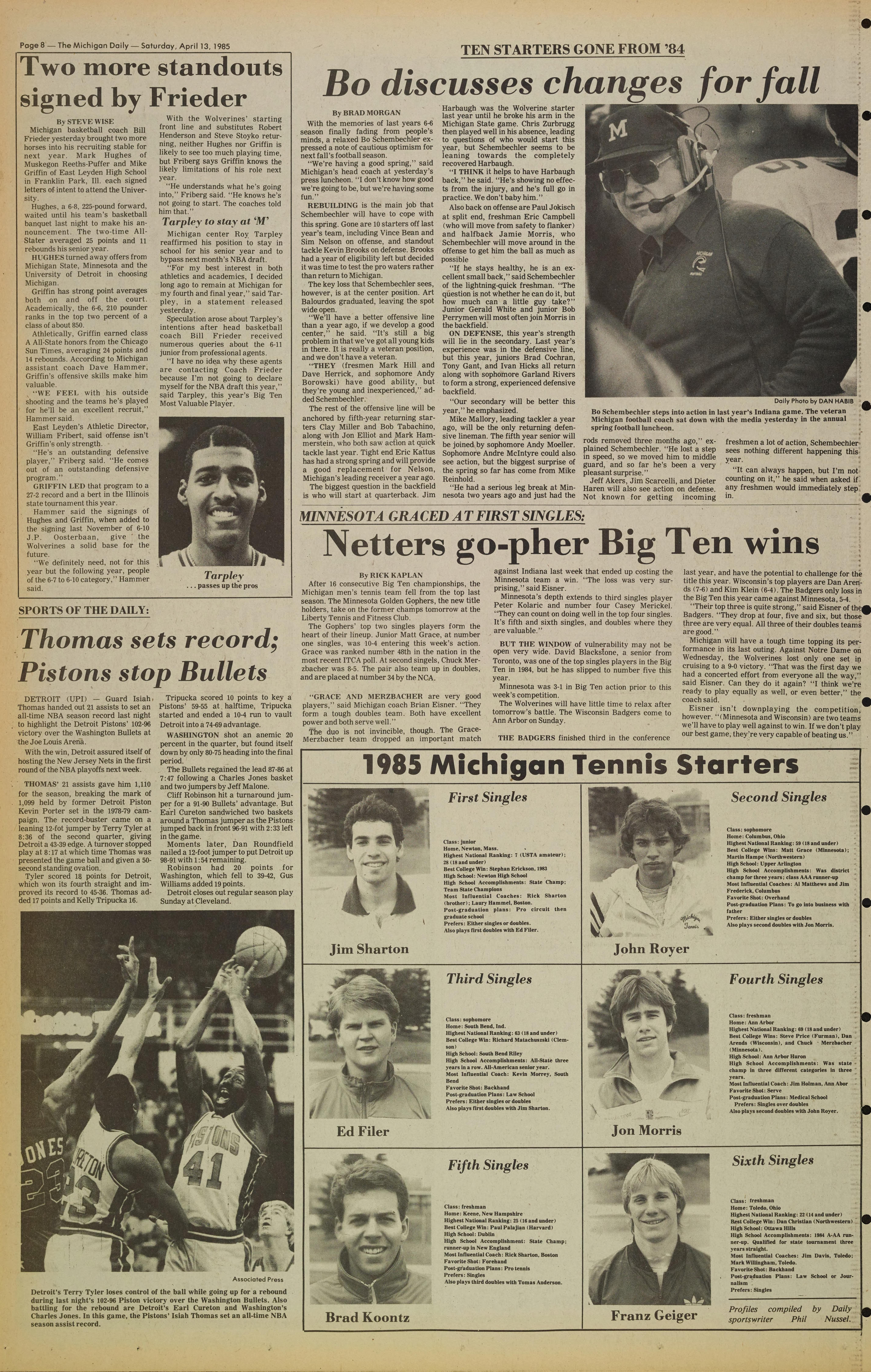 Michigan Daily Digital Archives April 13 1985 vol 95 iss 154