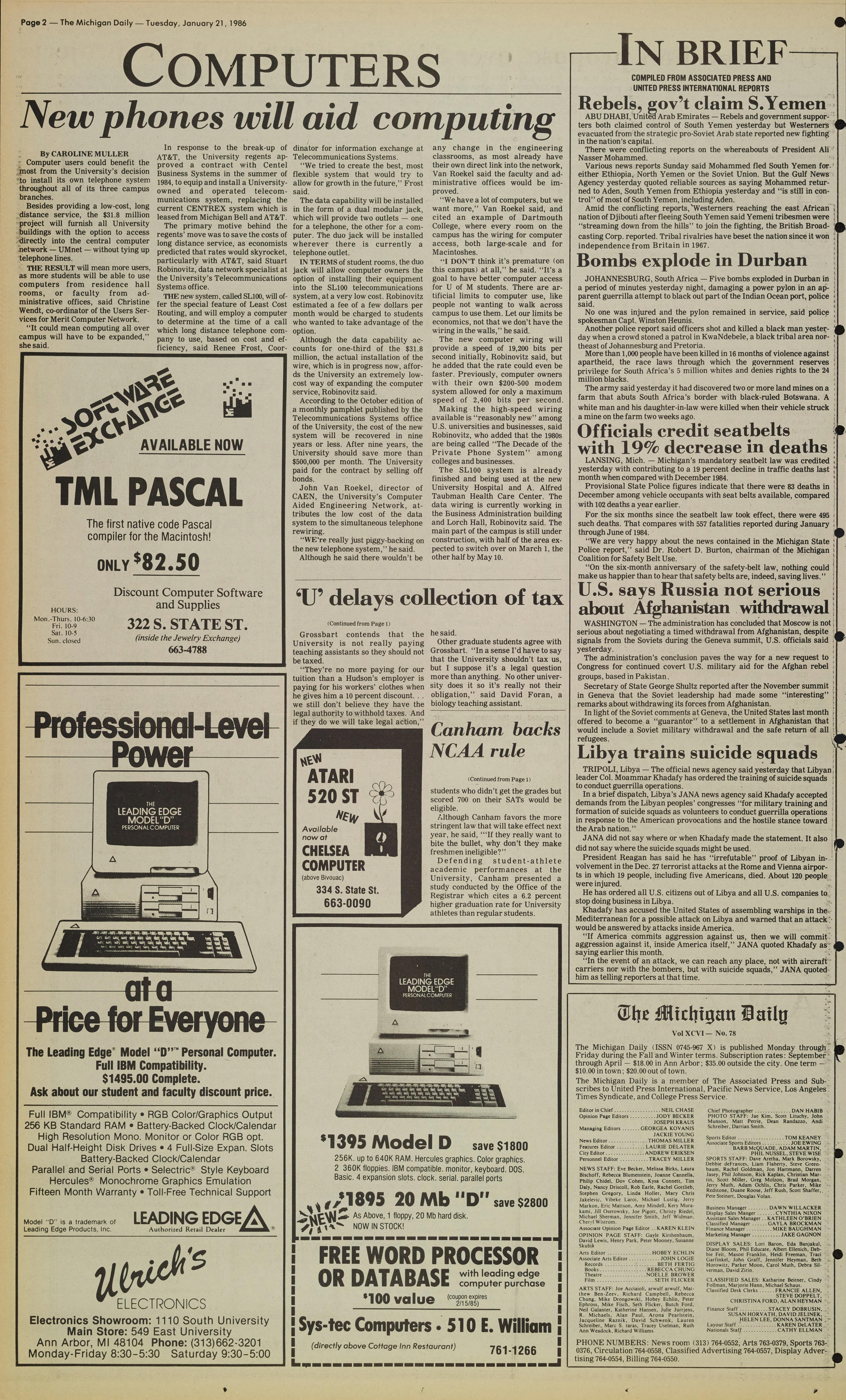Michigan Daily Digital Archives - January 21, 1986 (vol  96