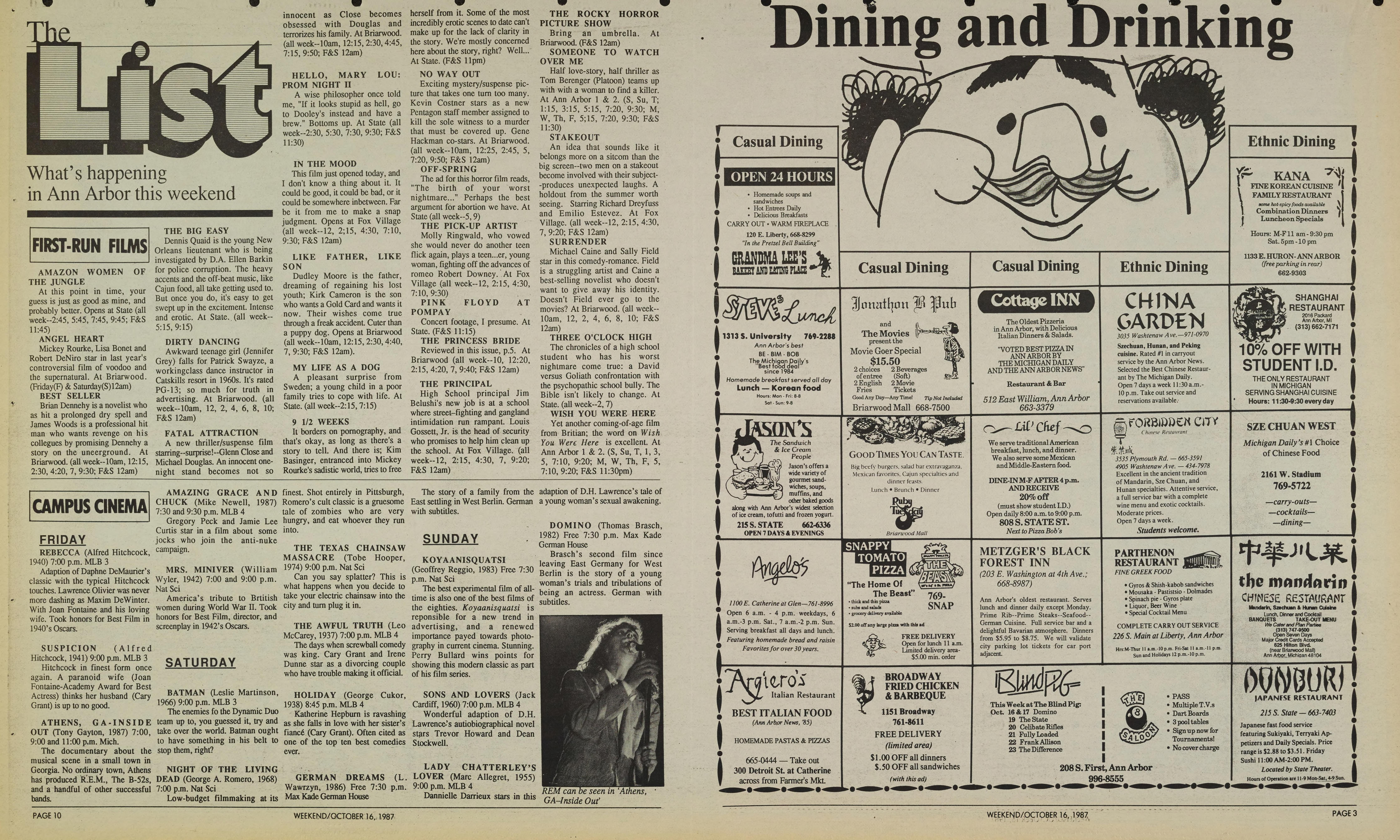 Michigan Daily Digital Archives - October 16, 1987 (vol  98