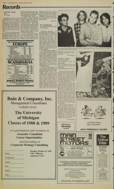 Michigan Daily Digital Archives - October 20, 1987 (vol  98