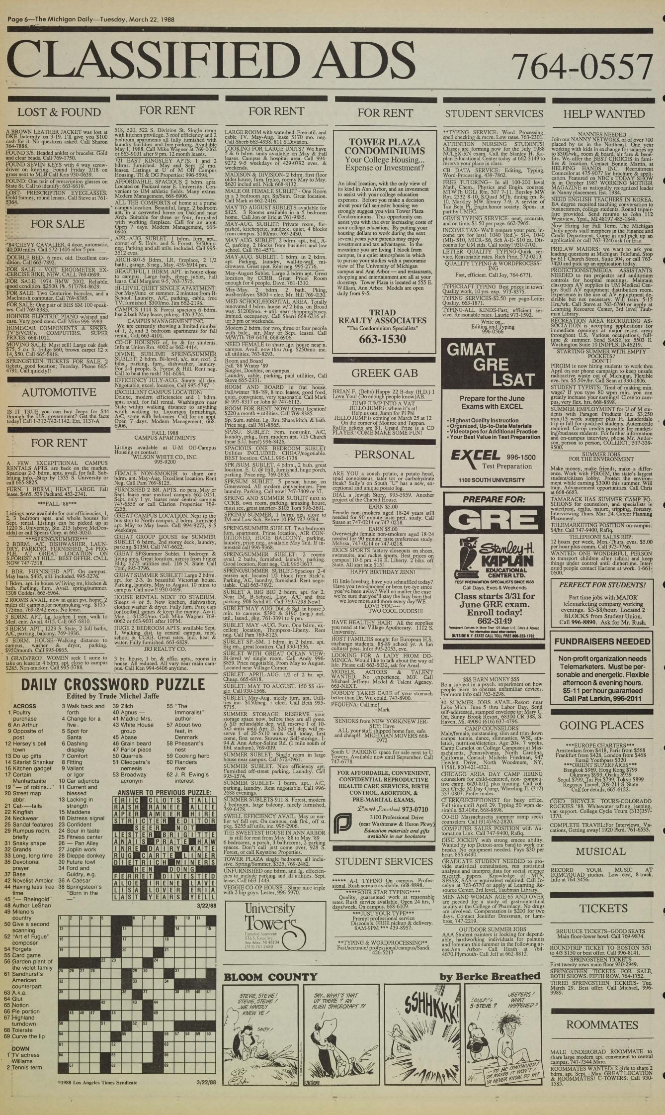 Michigan Daily Digital Archives - March 22, 1988 (vol  98, iss  115