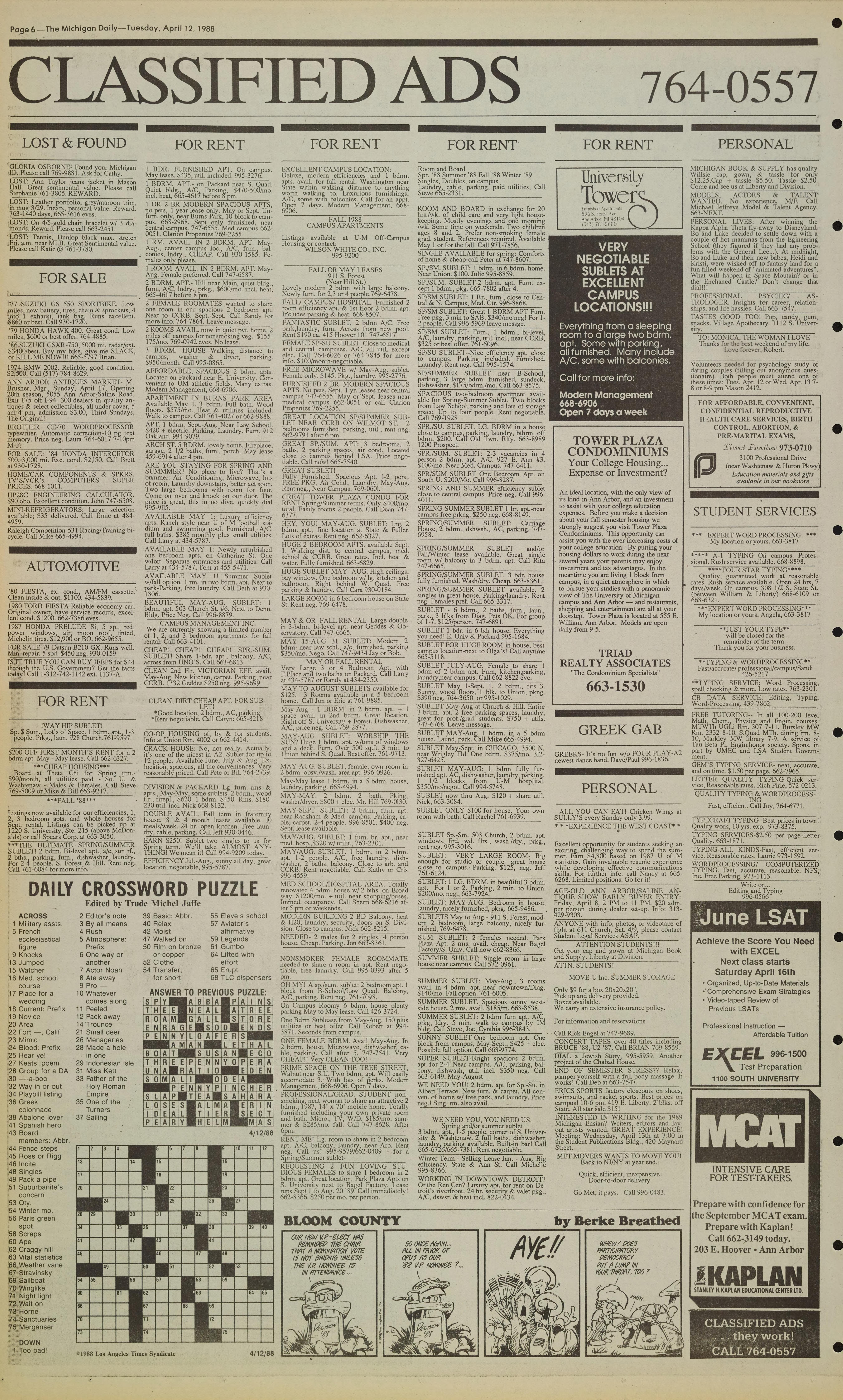 Michigan Daily Digital Archives - April 12, 1988 (vol. 98, iss. 130 ...