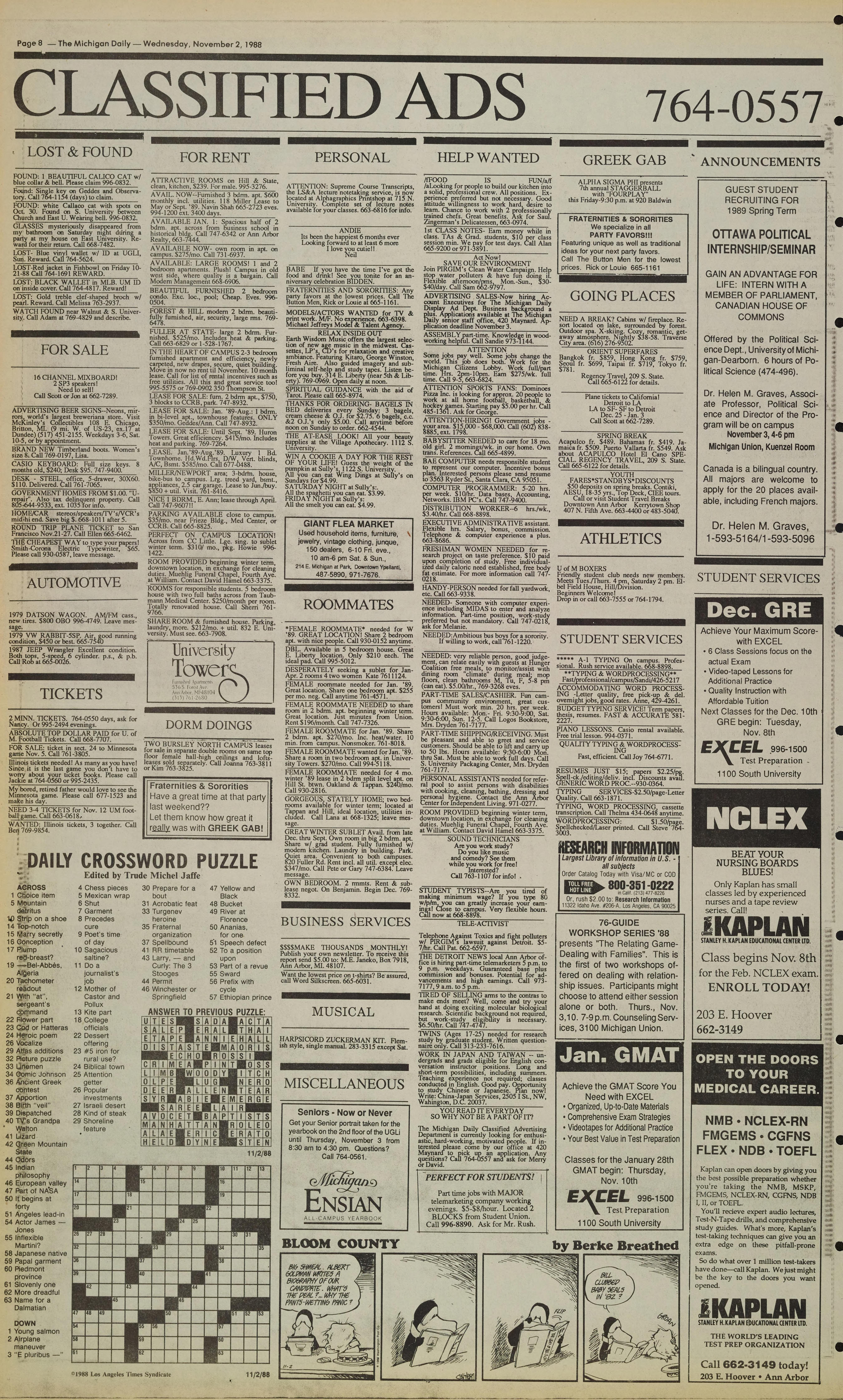 Michigan Daily Digital Archives - November 02, 1988 (vol  99, iss