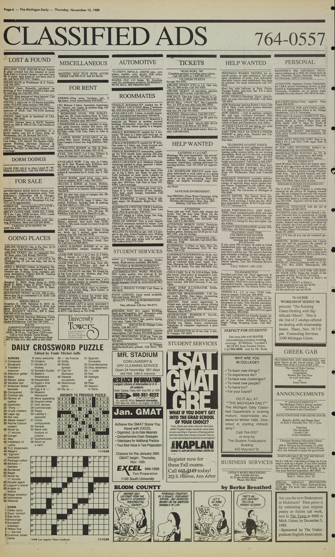 Michigan Daily Digital Archives November 10 1988 Vol 99 Iss