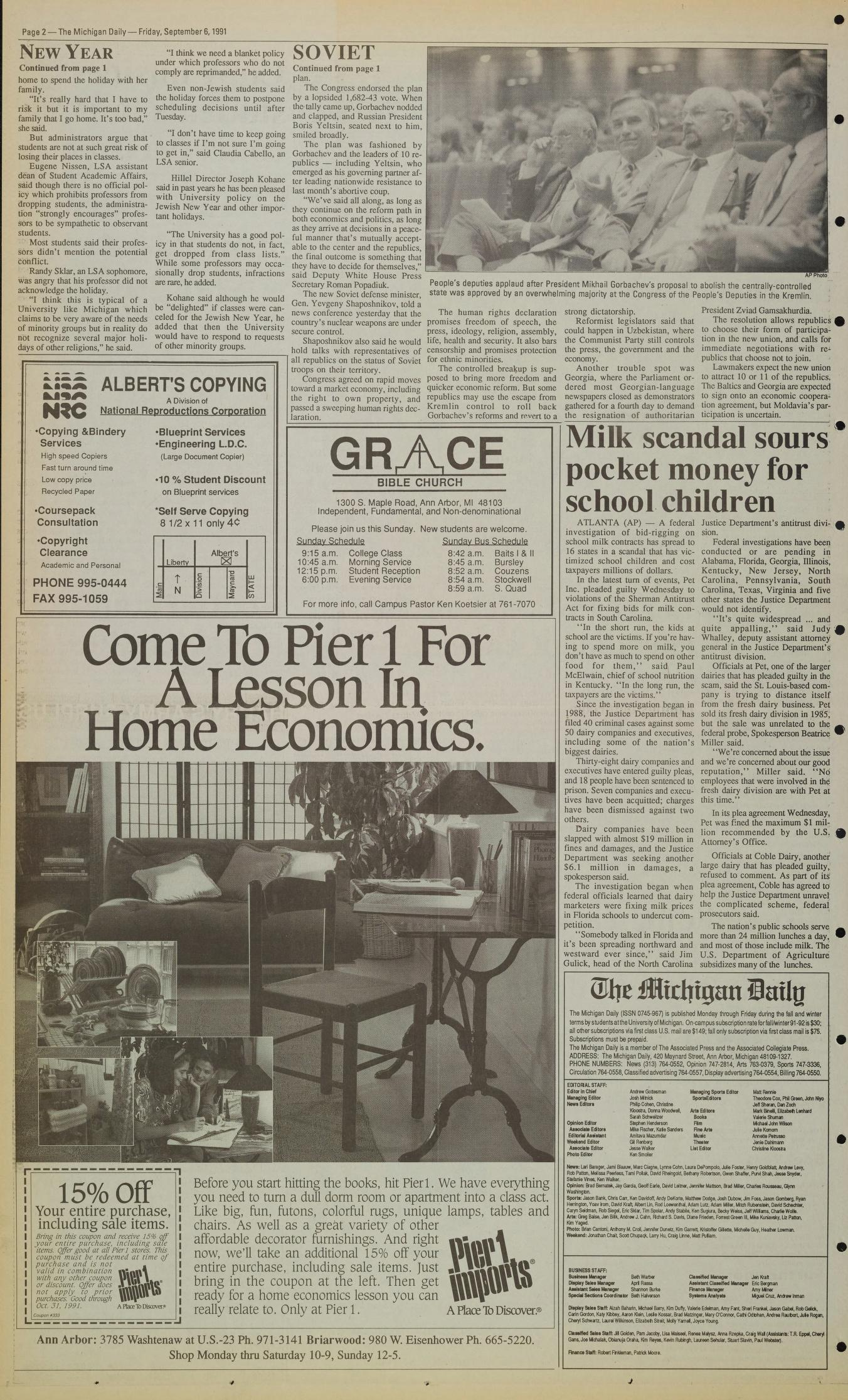 Michigan Daily Digital Archives - September 06, 1991 (vol