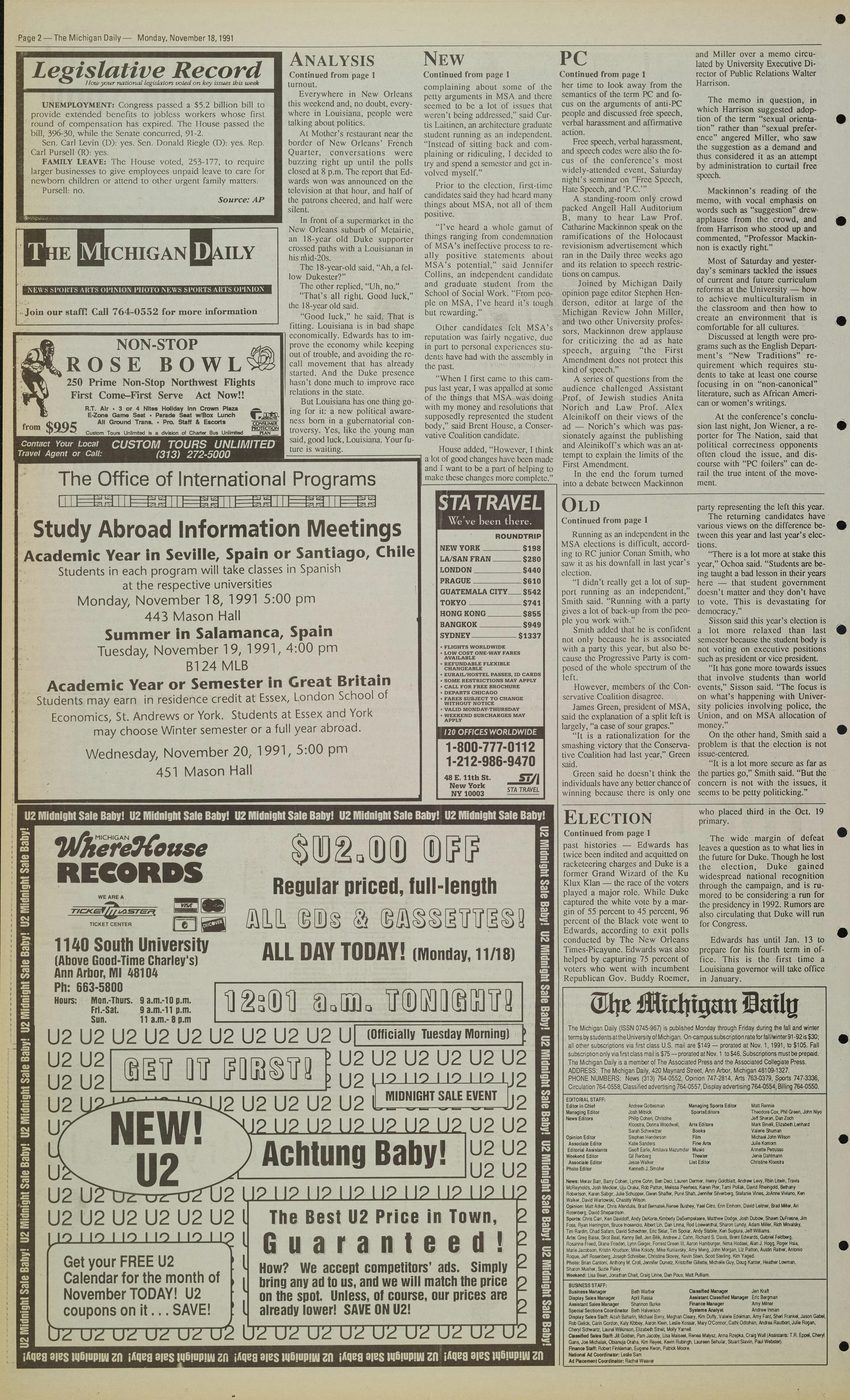 Michigan Daily Digital Archives - November 18, 1991 (vol
