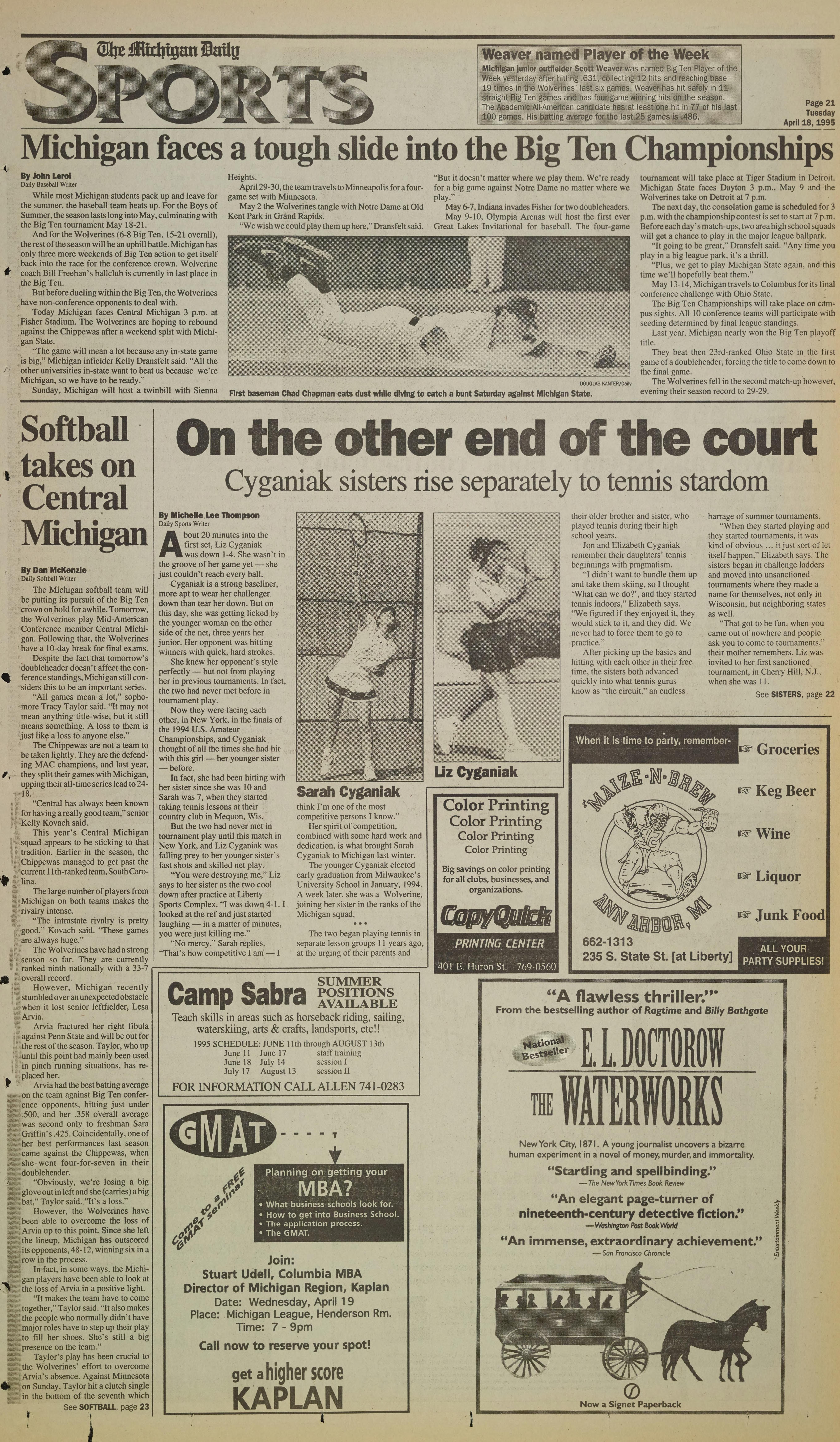 Michigan Daily Digital Archives - April 18, 1995 (vol  105