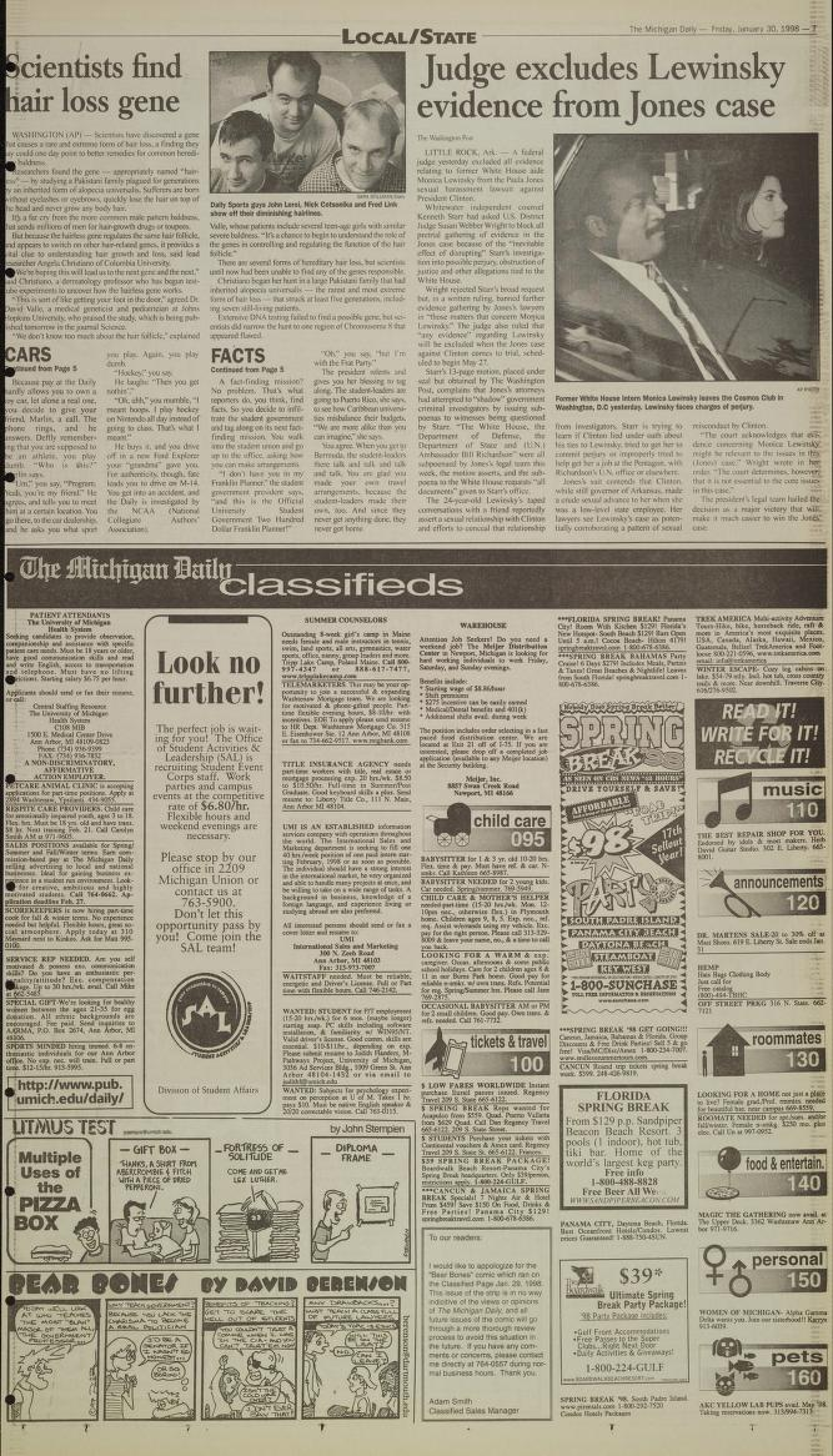 Michigan Daily Digital Archives - January 30, 1998 (vol  108
