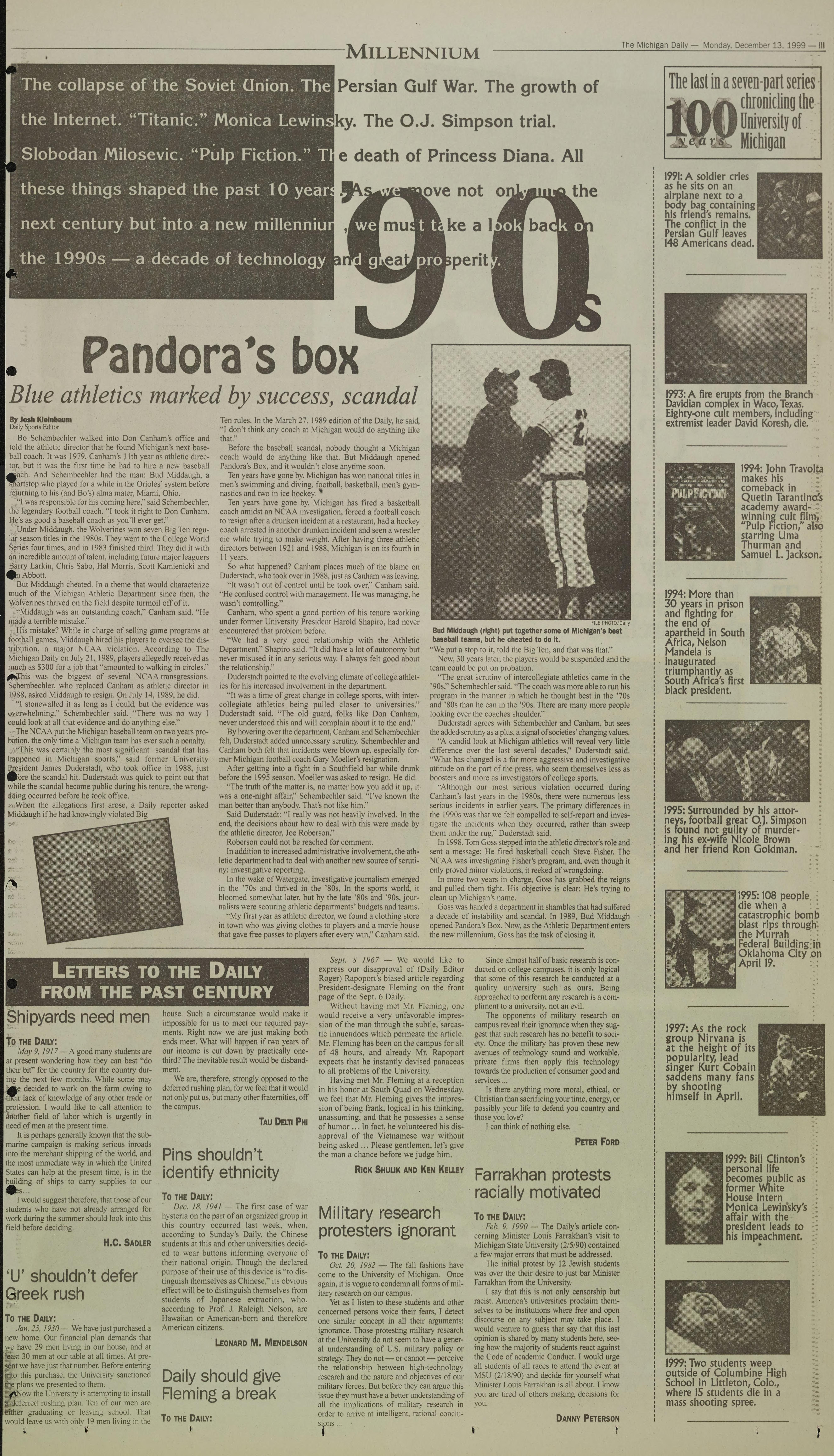 Michigan Daily Digital Archives - December 13, 1999 (vol