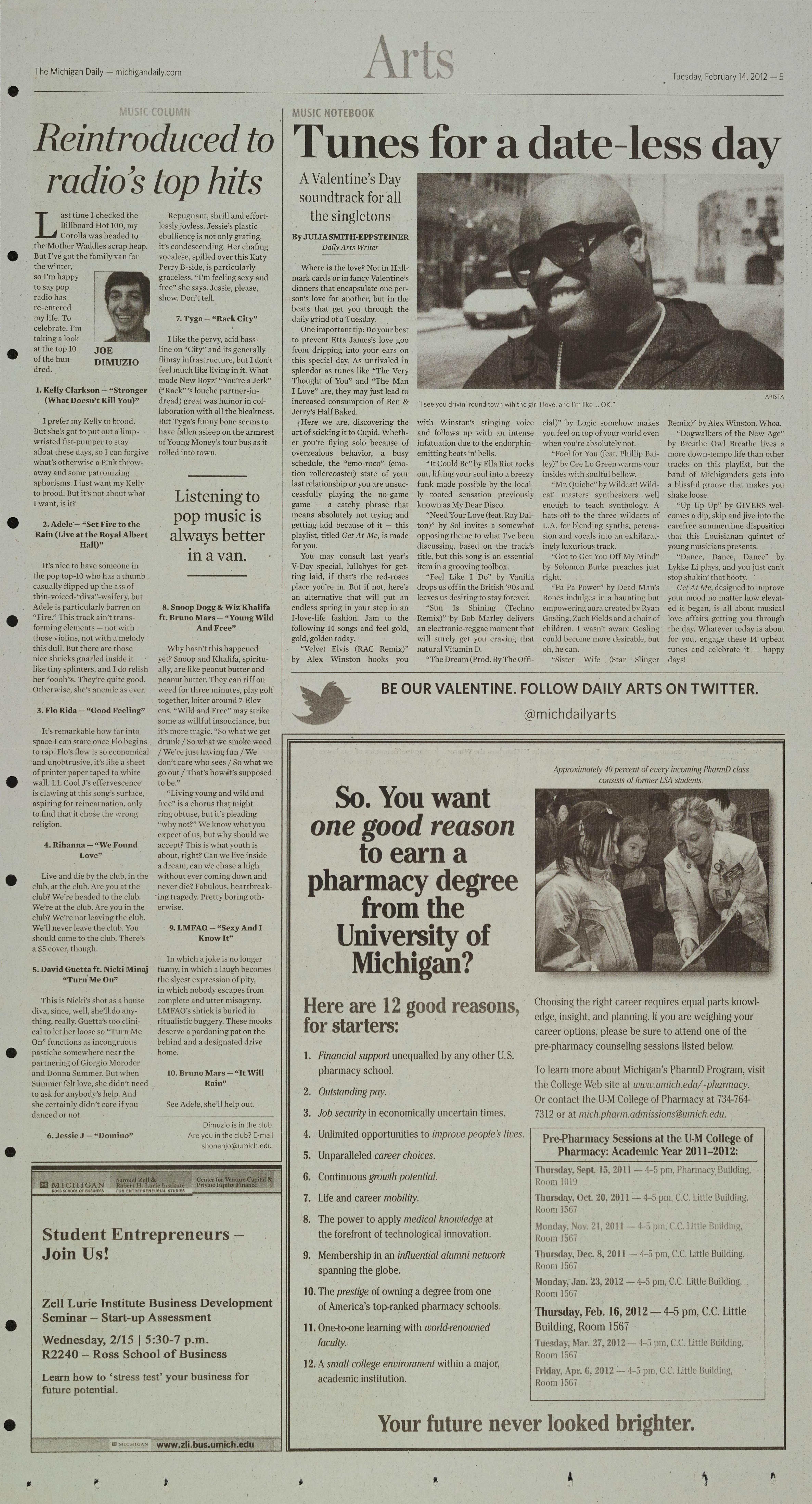 Michigan Daily Digital Archives - February 14, 2012 (vol