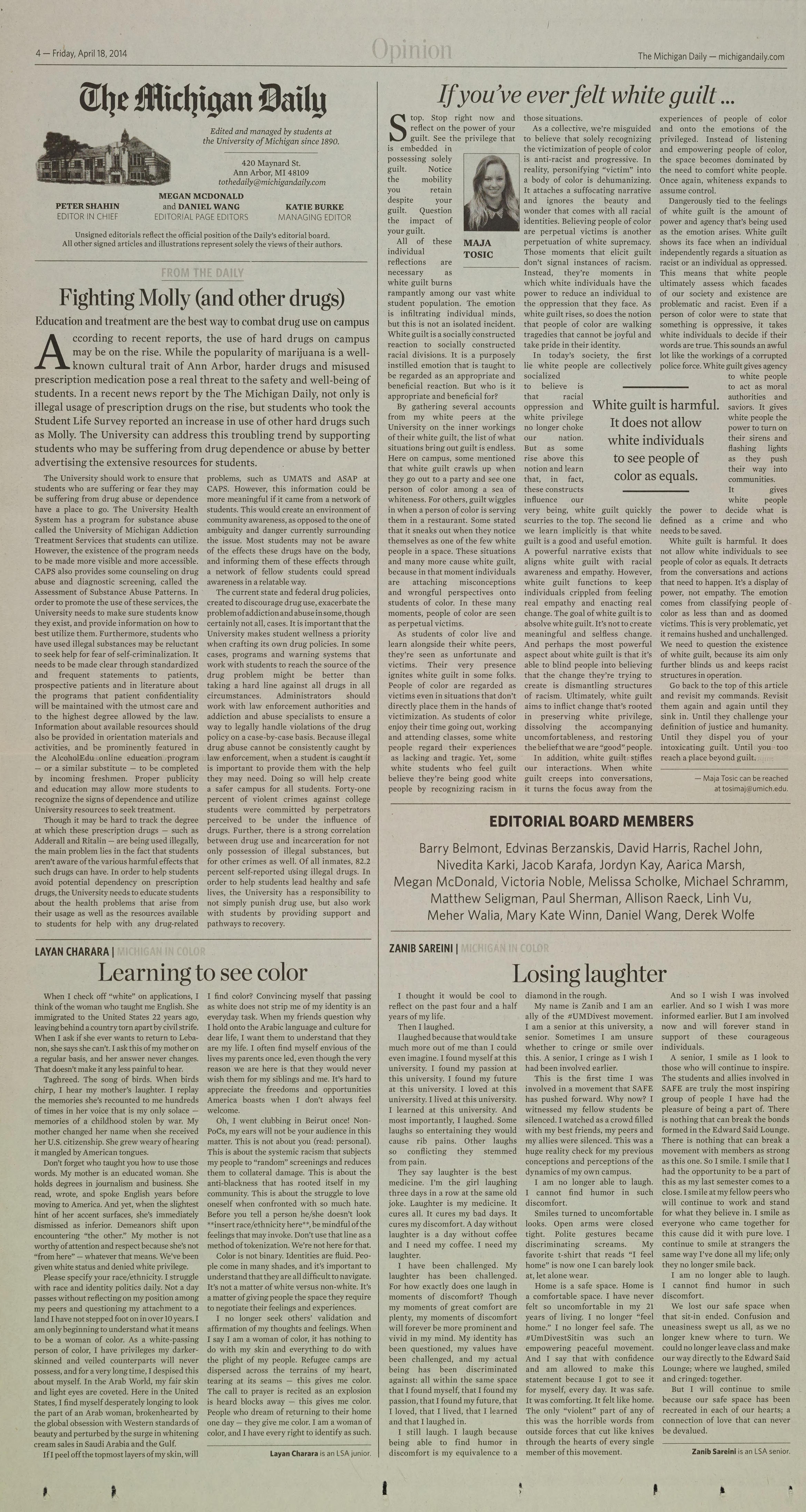 Michigan Daily Digital Archives April 18 2014 Vol 124 Iss 103