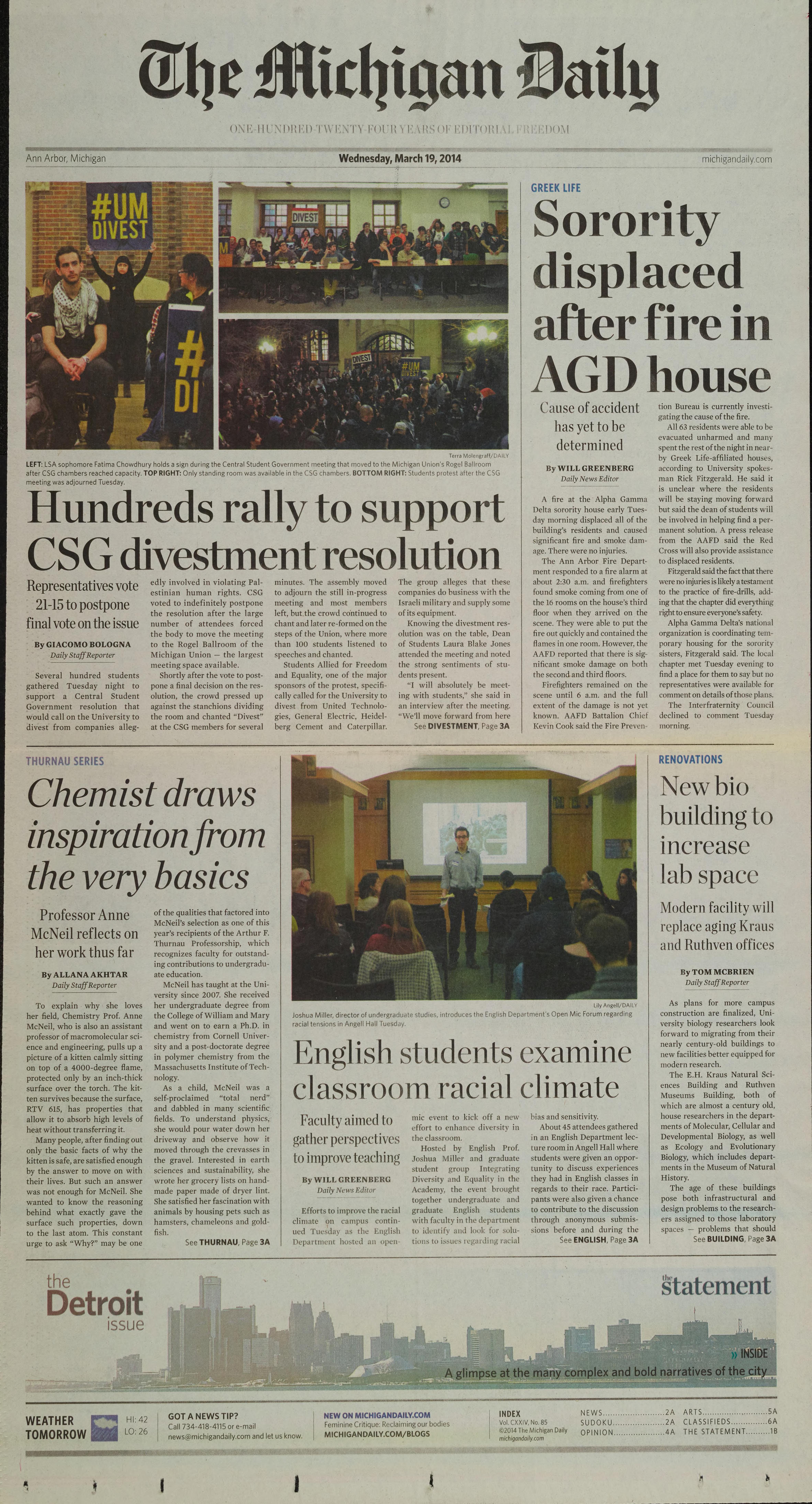 Michigan Daily Digital Archives - March 19, 2014 (vol  124