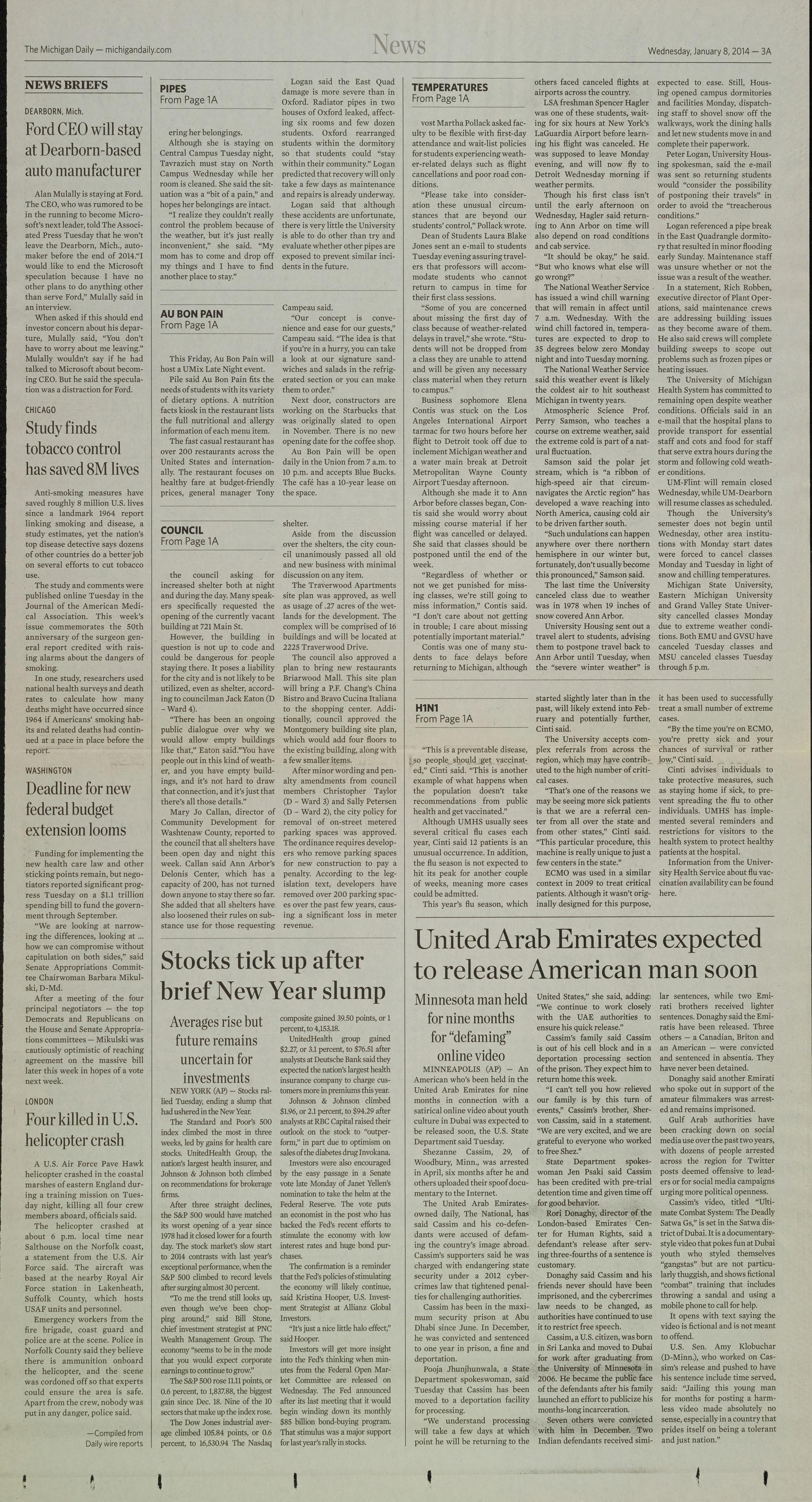 Michigan Daily Digital Archives - January 08, 2014 (vol  124