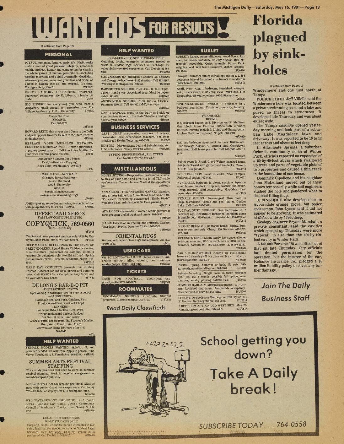 Michigan Daily Digital Archives - May 16, 1981 (vol  91, iss