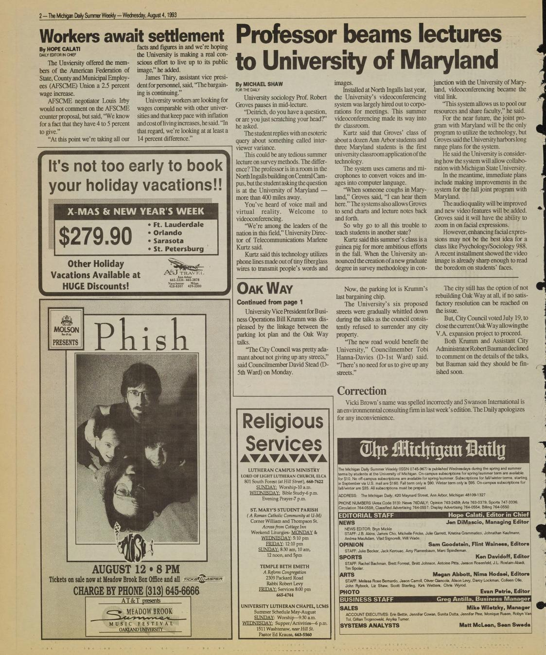 Michigan Daily Digital Archives - August 04, 1993 (vol  103