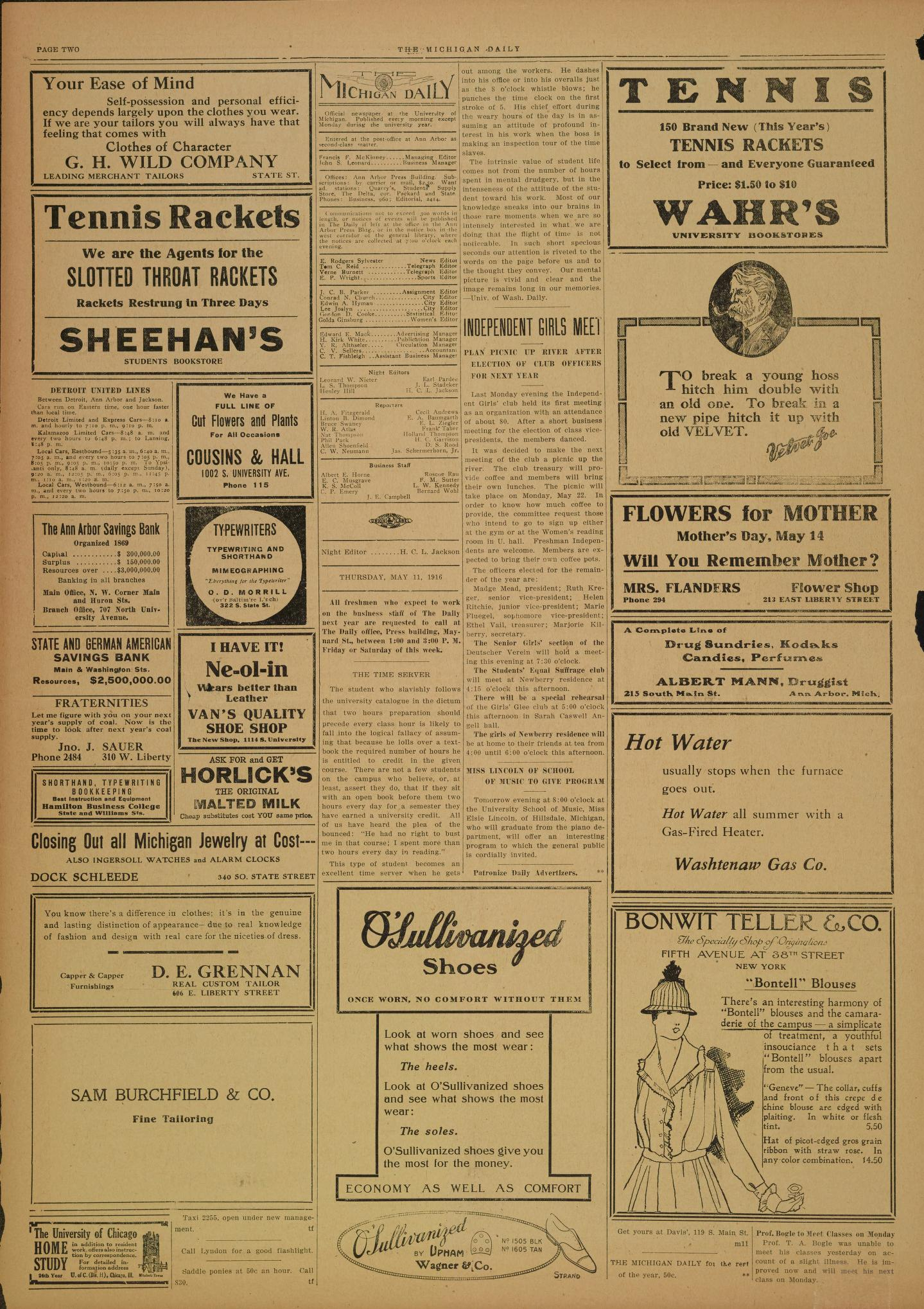 michigan daily digital archives may 11 1916 vol 26 iss 154