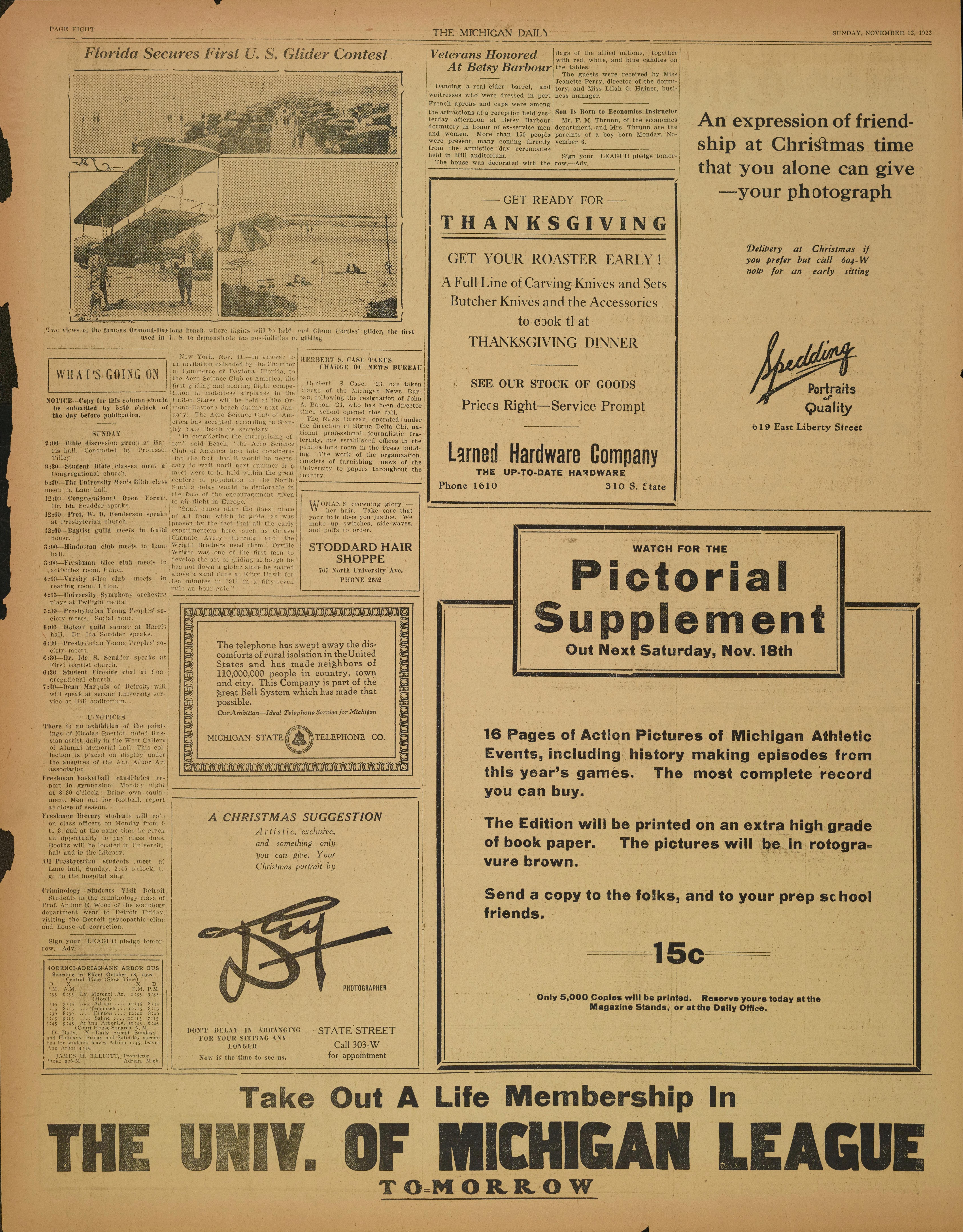 Michigan Daily Digital Archives - November 12, 1922 (vol  33, iss
