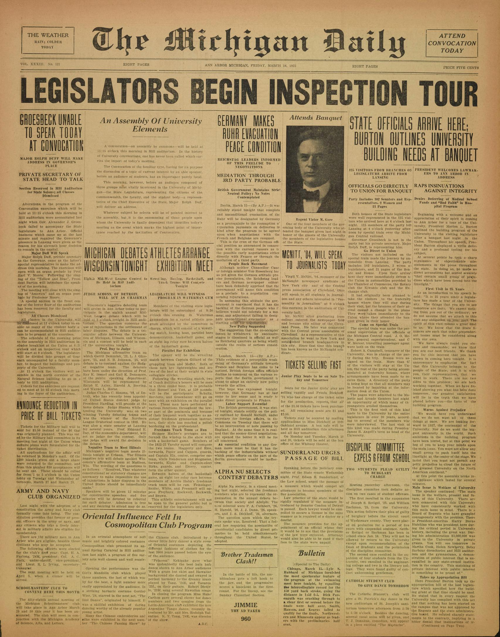 Michigan Daily Digital Archives March 16 1923 vol 33 iss 121