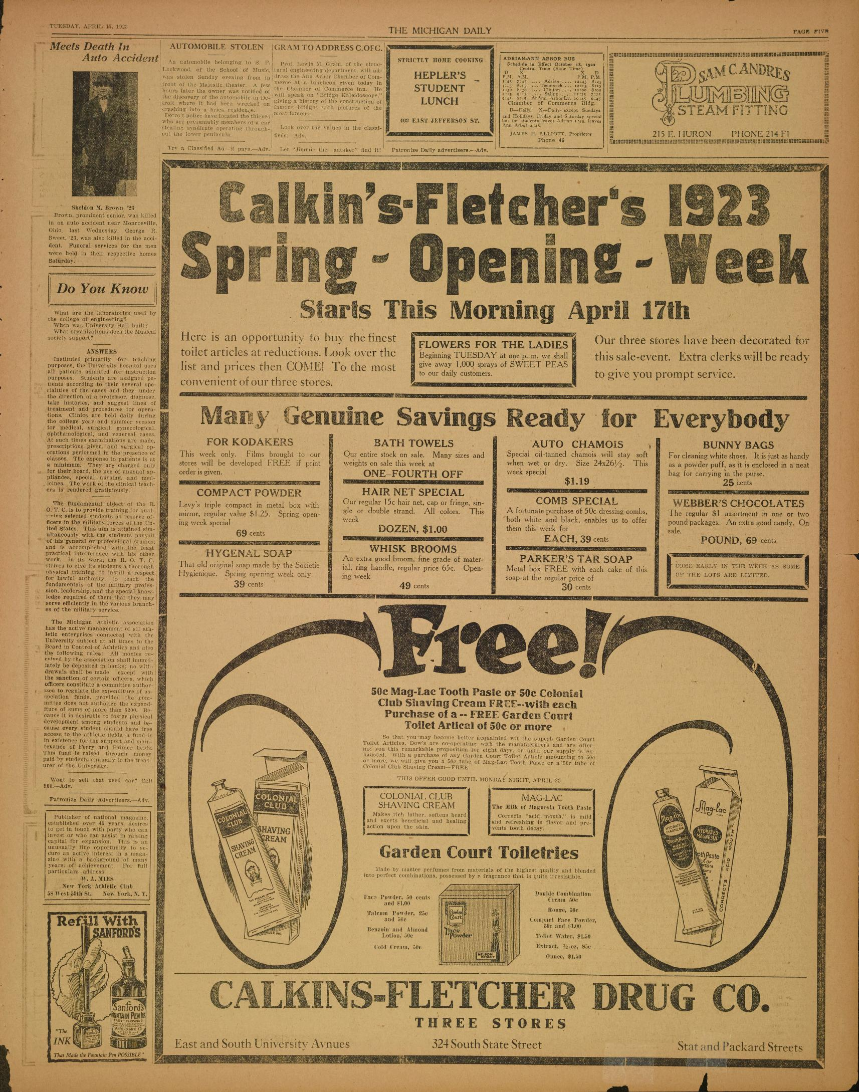 Michigan Daily Digital Archives - April 17, 1923 (vol. 33, iss. 140 ...