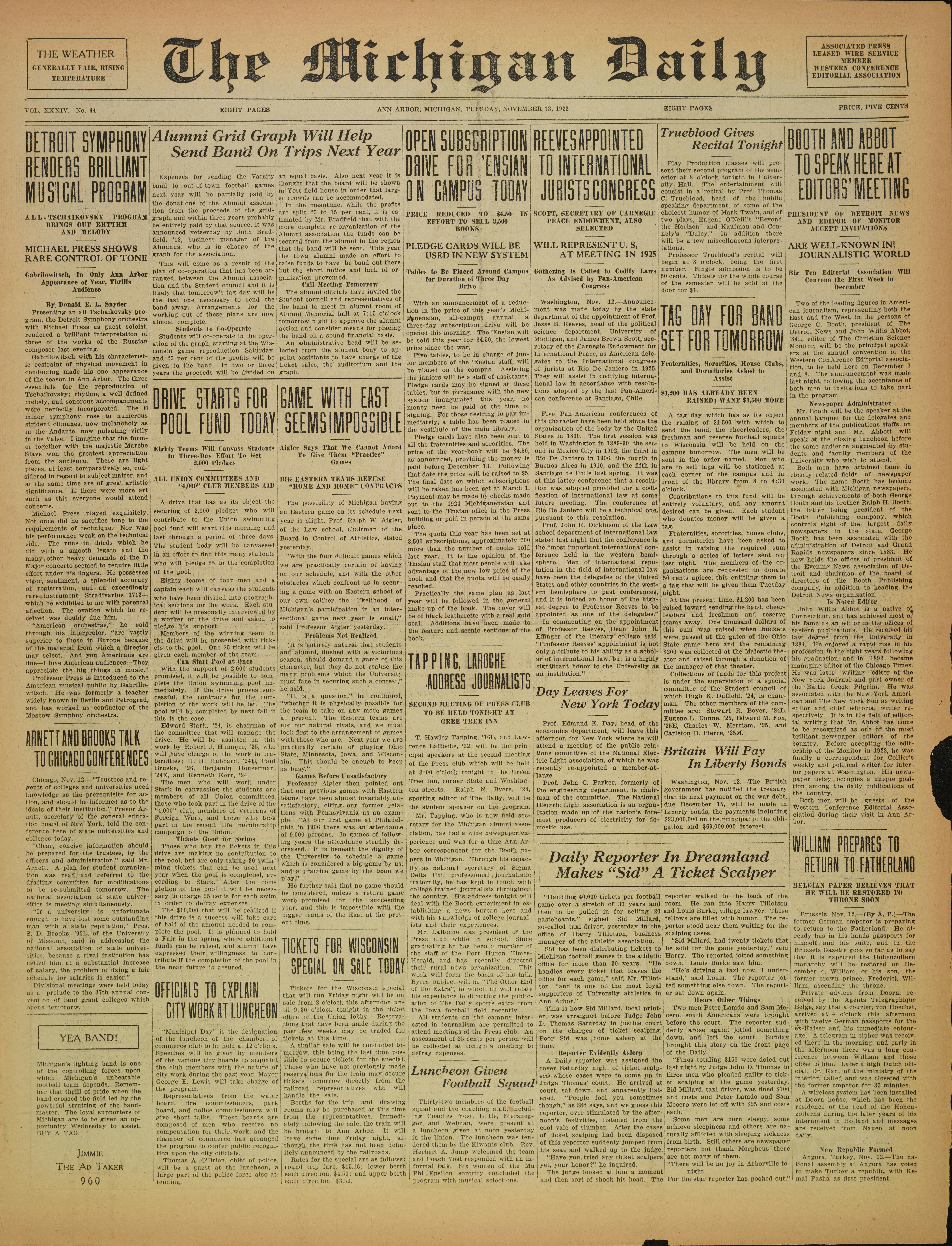 Michigan Daily Digital Archives - November 13, 1923 (vol  34